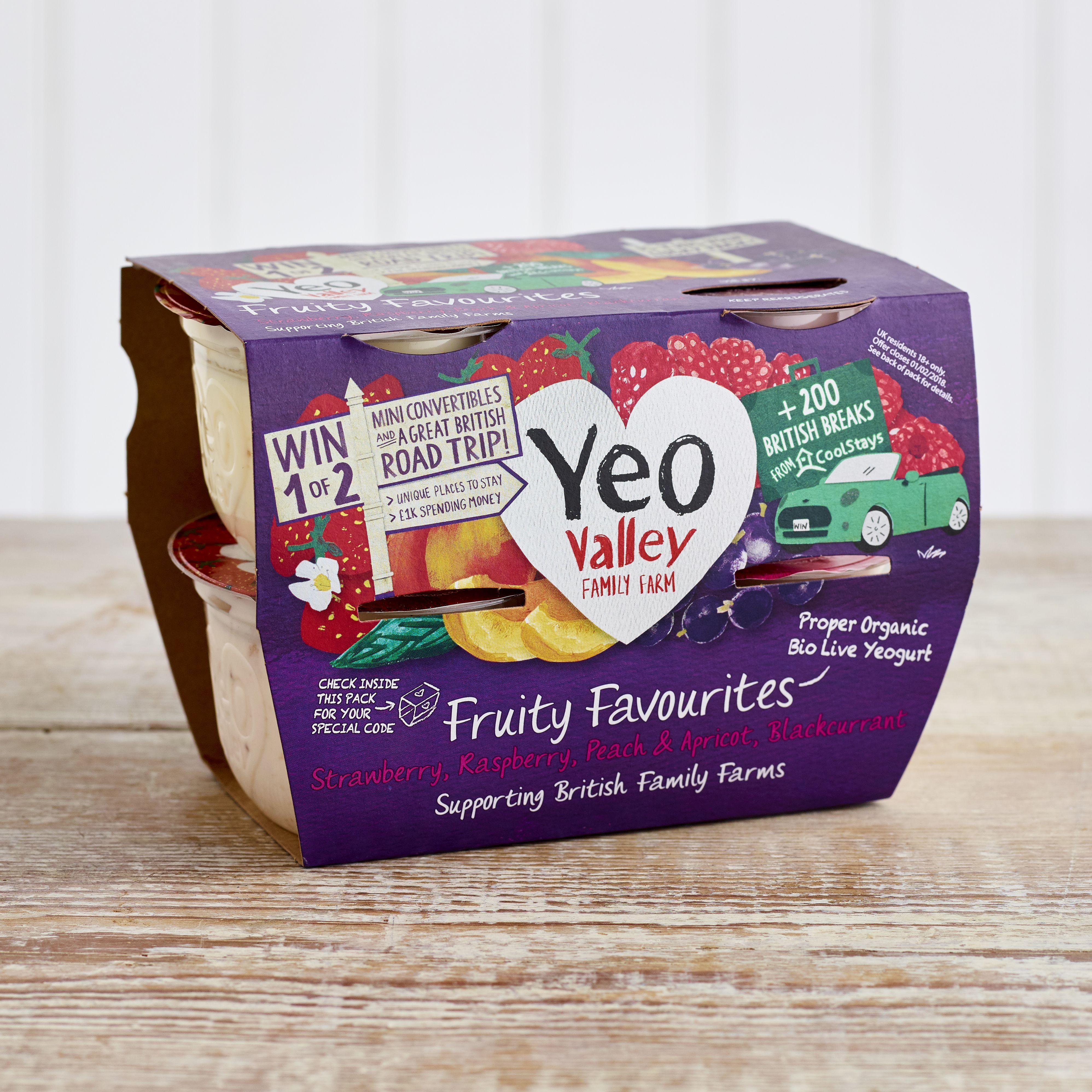 Yeo Valley Organic Fruity Favourites Yoghurts, 4 x 120g