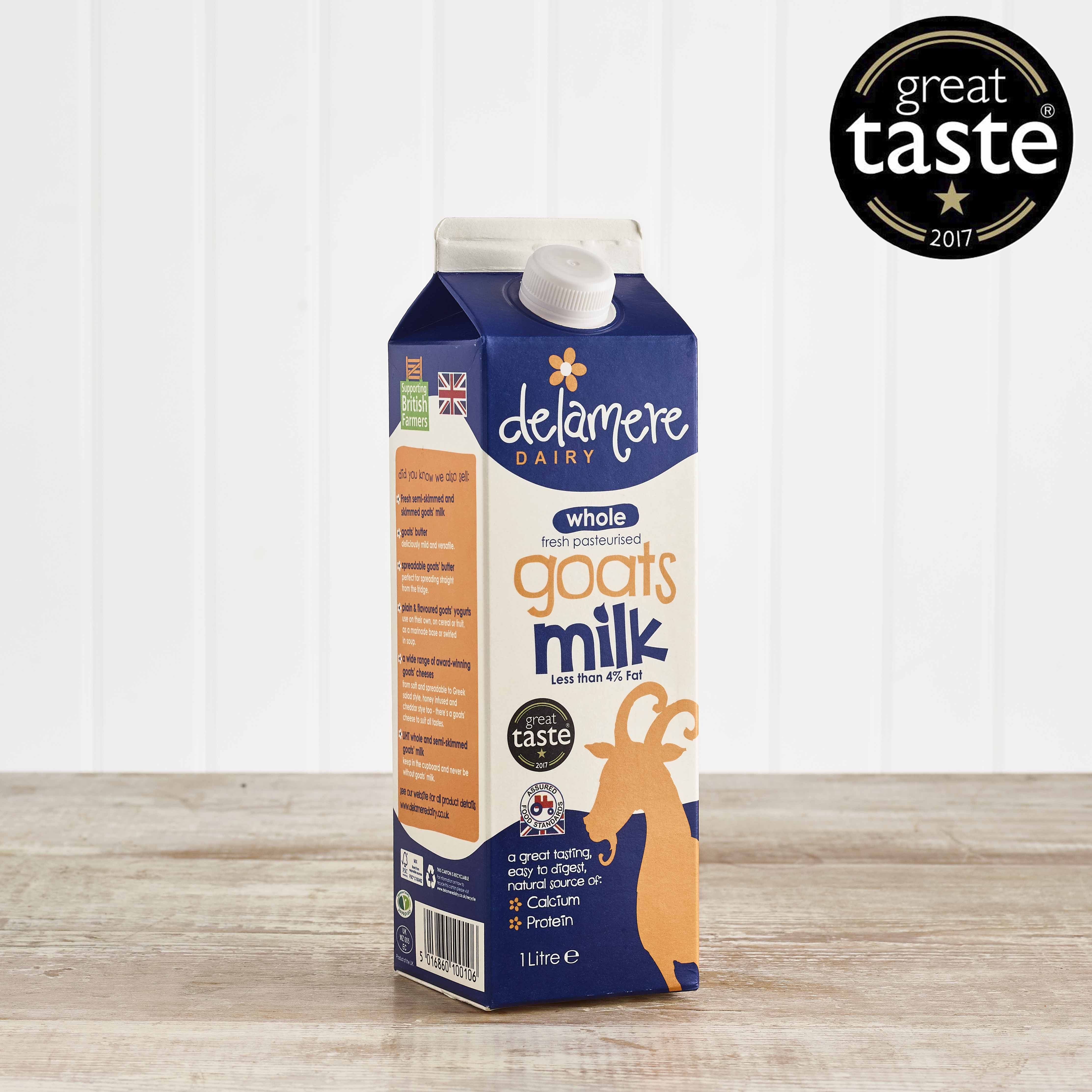 Delamere Dairy Fresh Whole Goats Milk, 1ltr