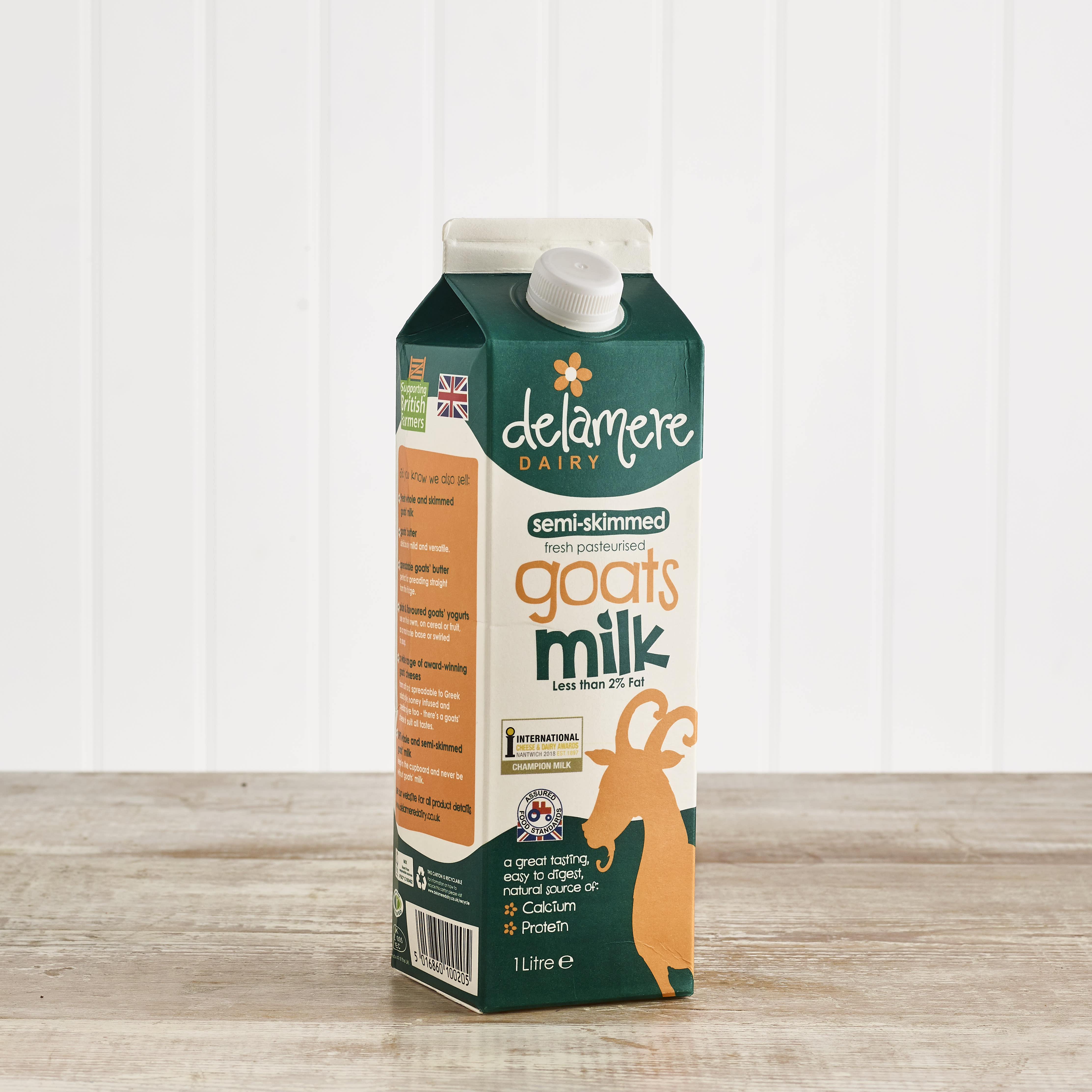 Delamere Dairy Fresh Goats Milk Semi Skimmed, 1ltr