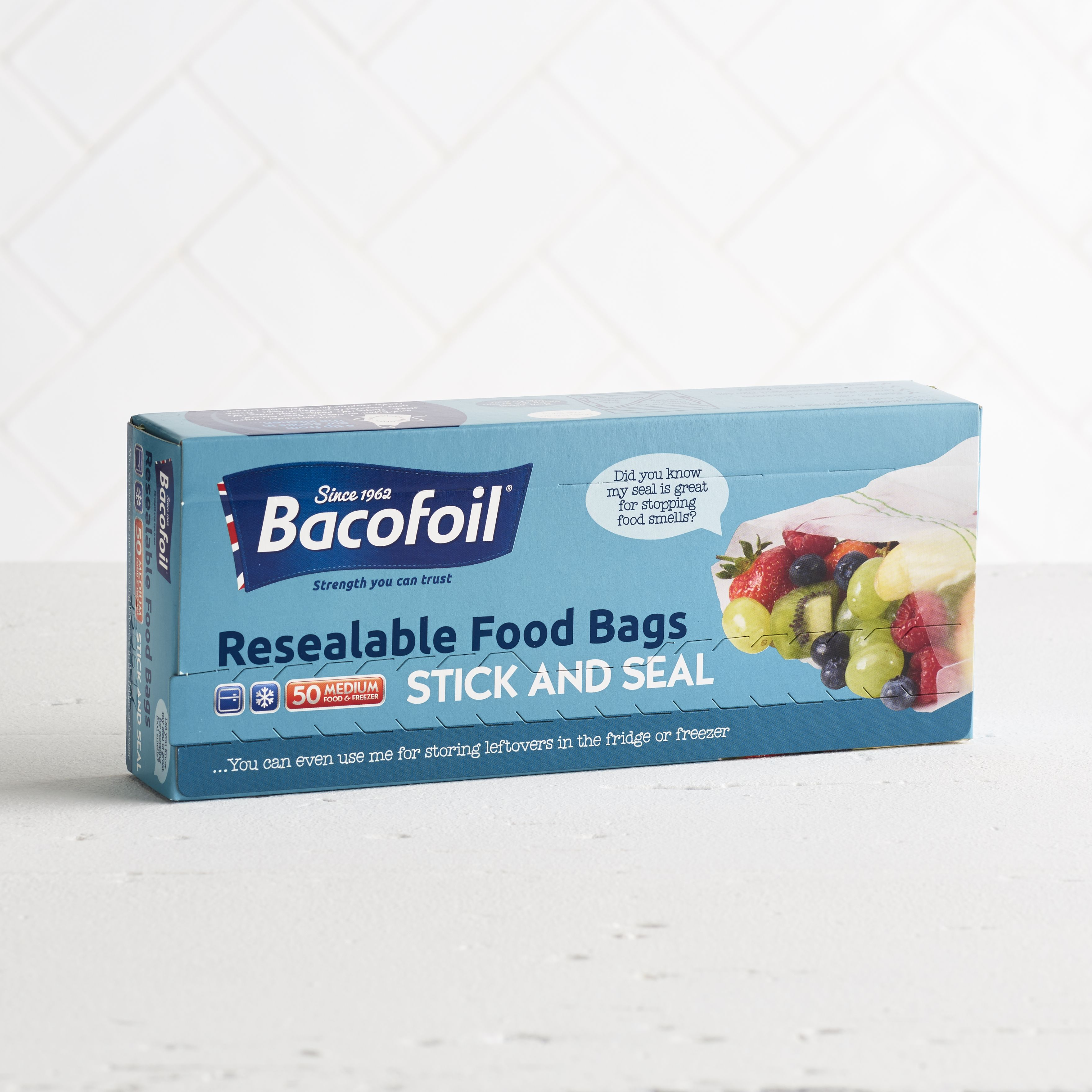 Bacofoil Stick & Seal Resealable Food Bags, 50 Pack