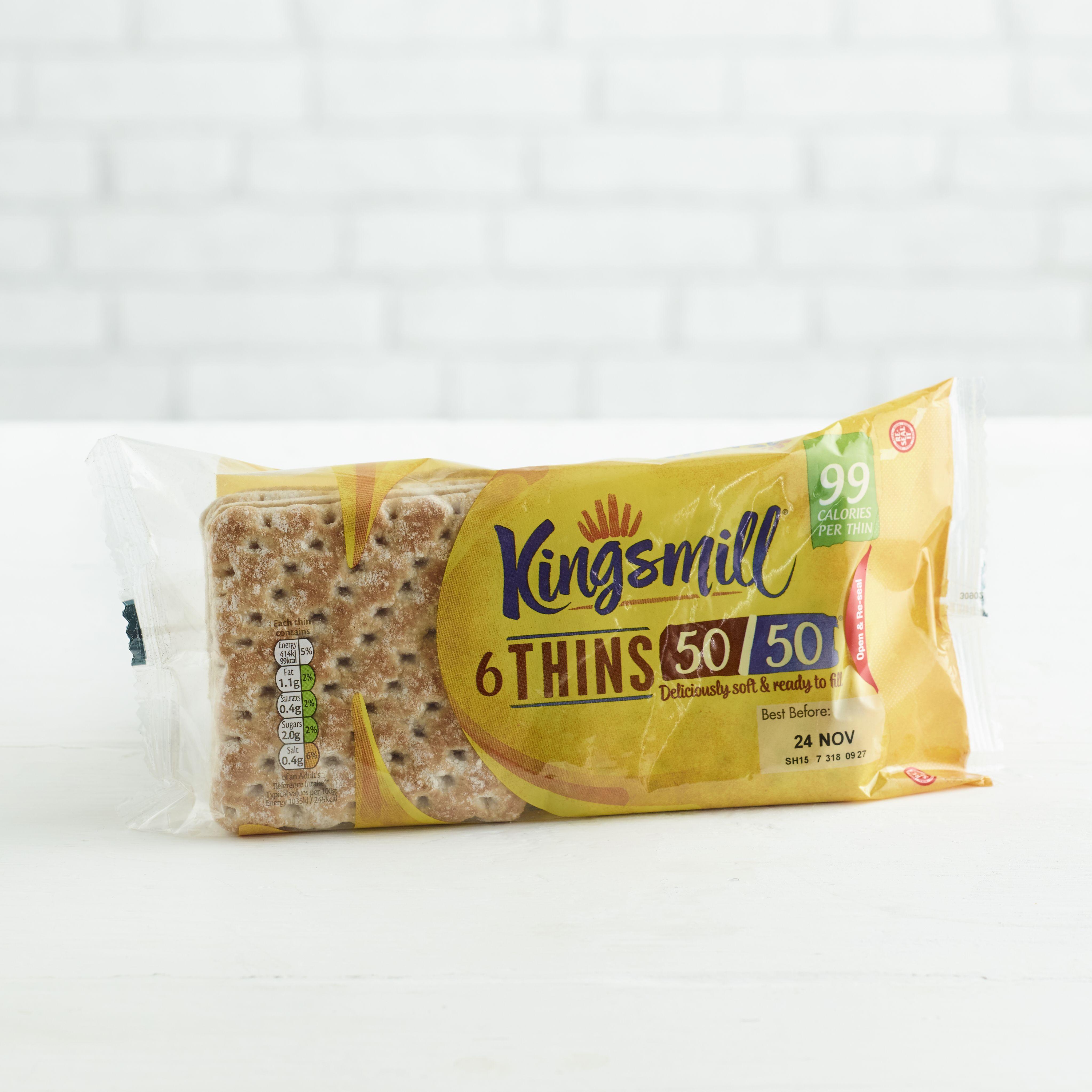 Kingsmill 50/50 Sandwich Thins, 6 pack