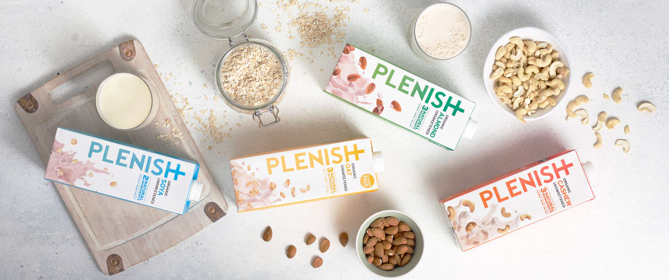 Plenish plant fuelled m*lks with all natural ingredients