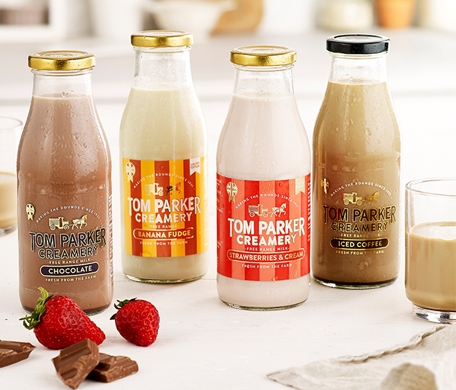 Tom Parker iced coffee, chocolate and strawberry milks