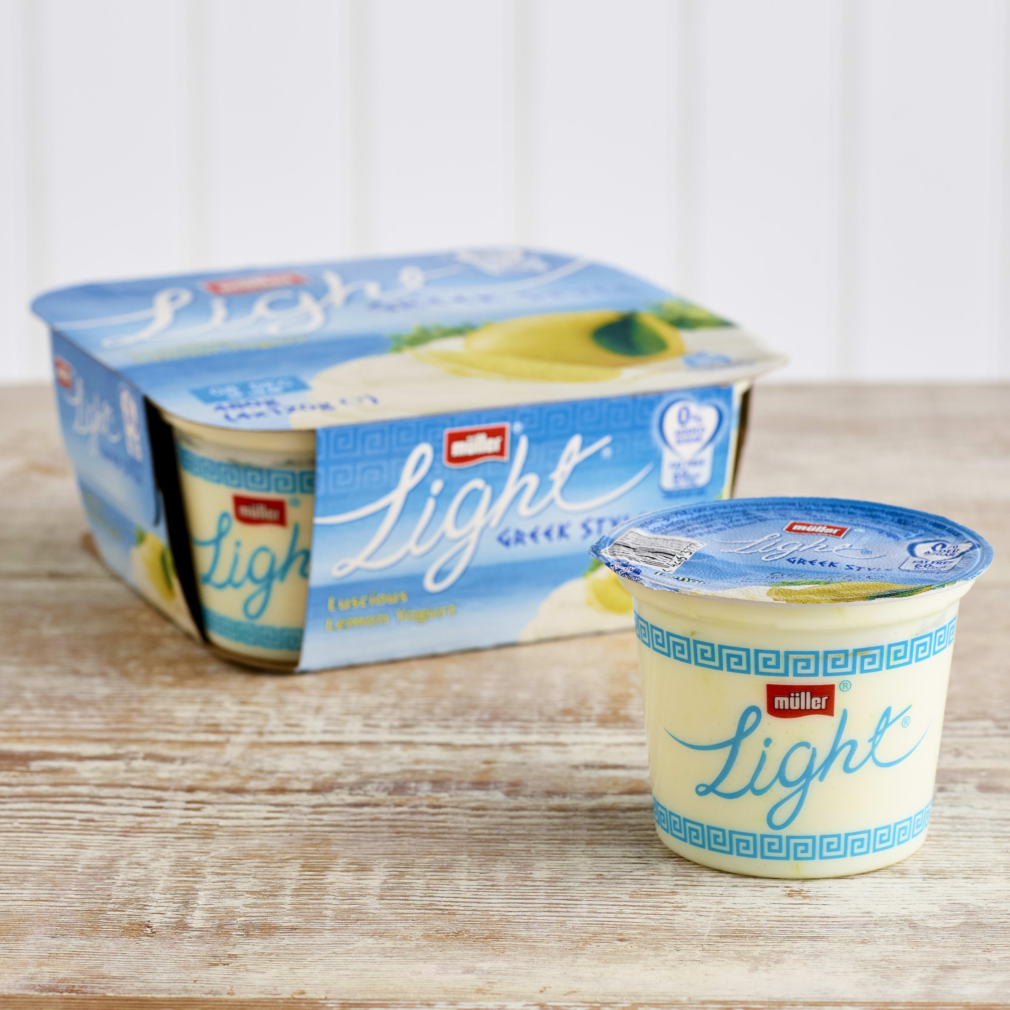 Müllerlight Greek Style Fat Free Lemon Yoghurt, 4 x 120g