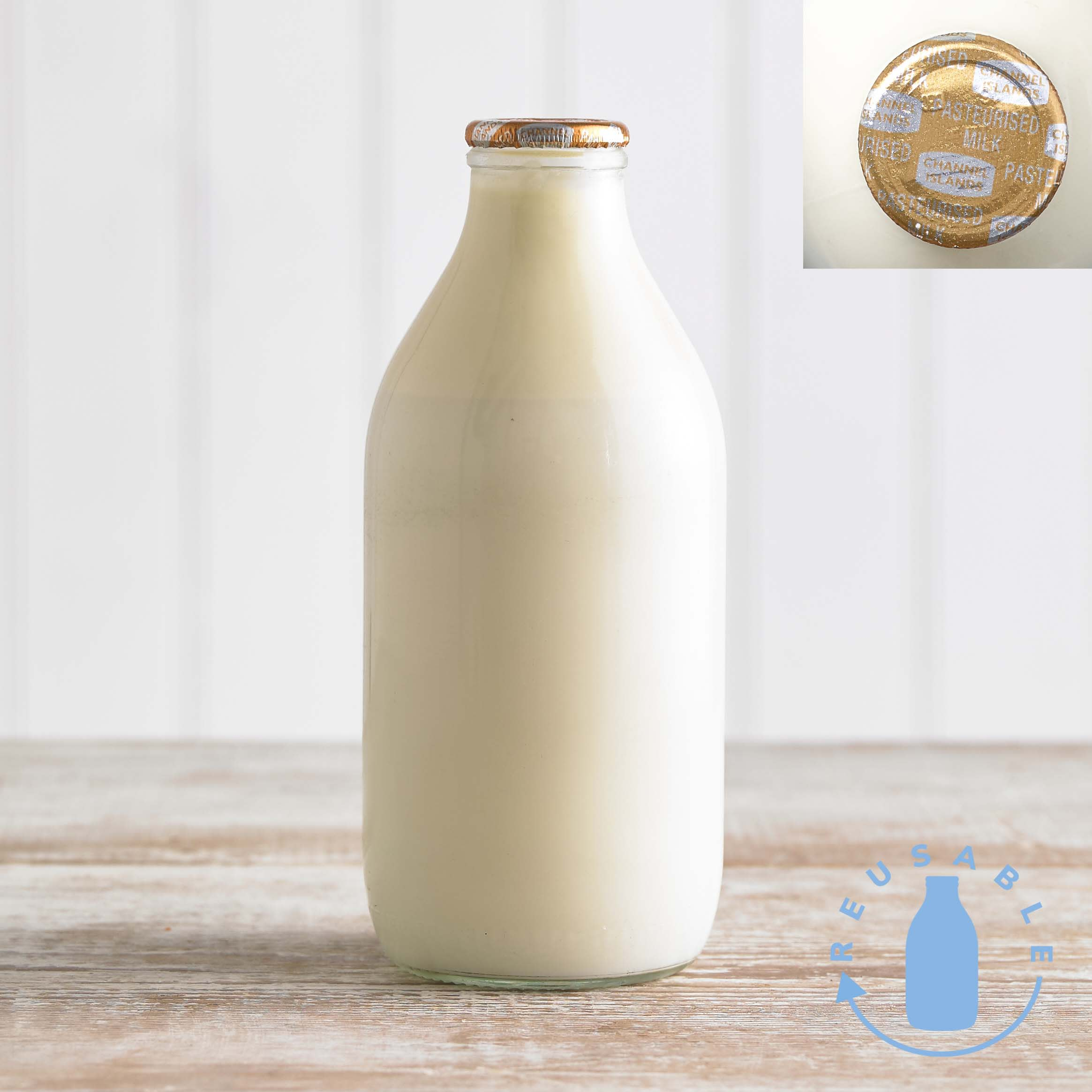 Channel Island Gold Foil Milk in Glass, 568ml, 1pt