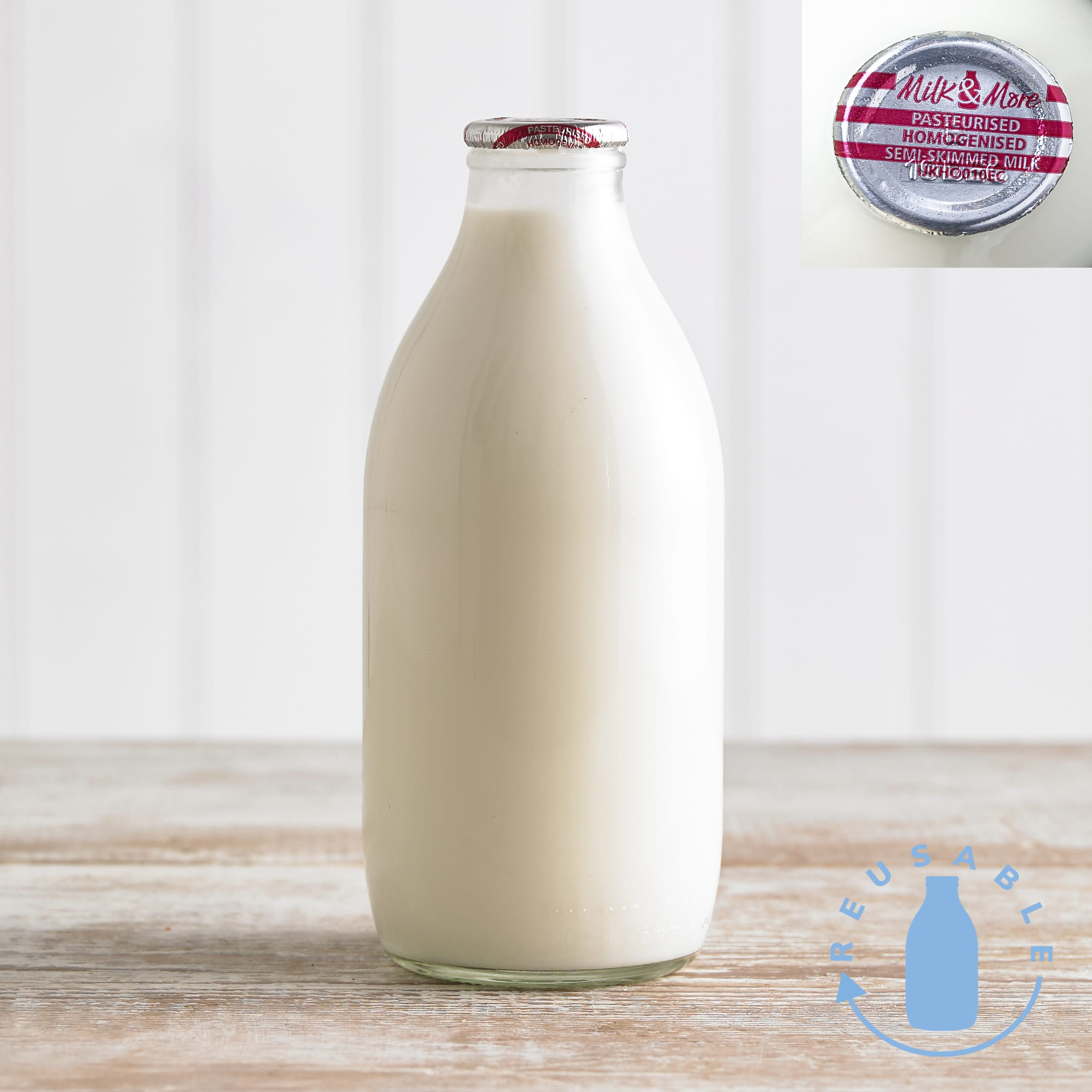 Milk Amp More Semi Skimmed Milk In Glass 568ml 1pt Dairy