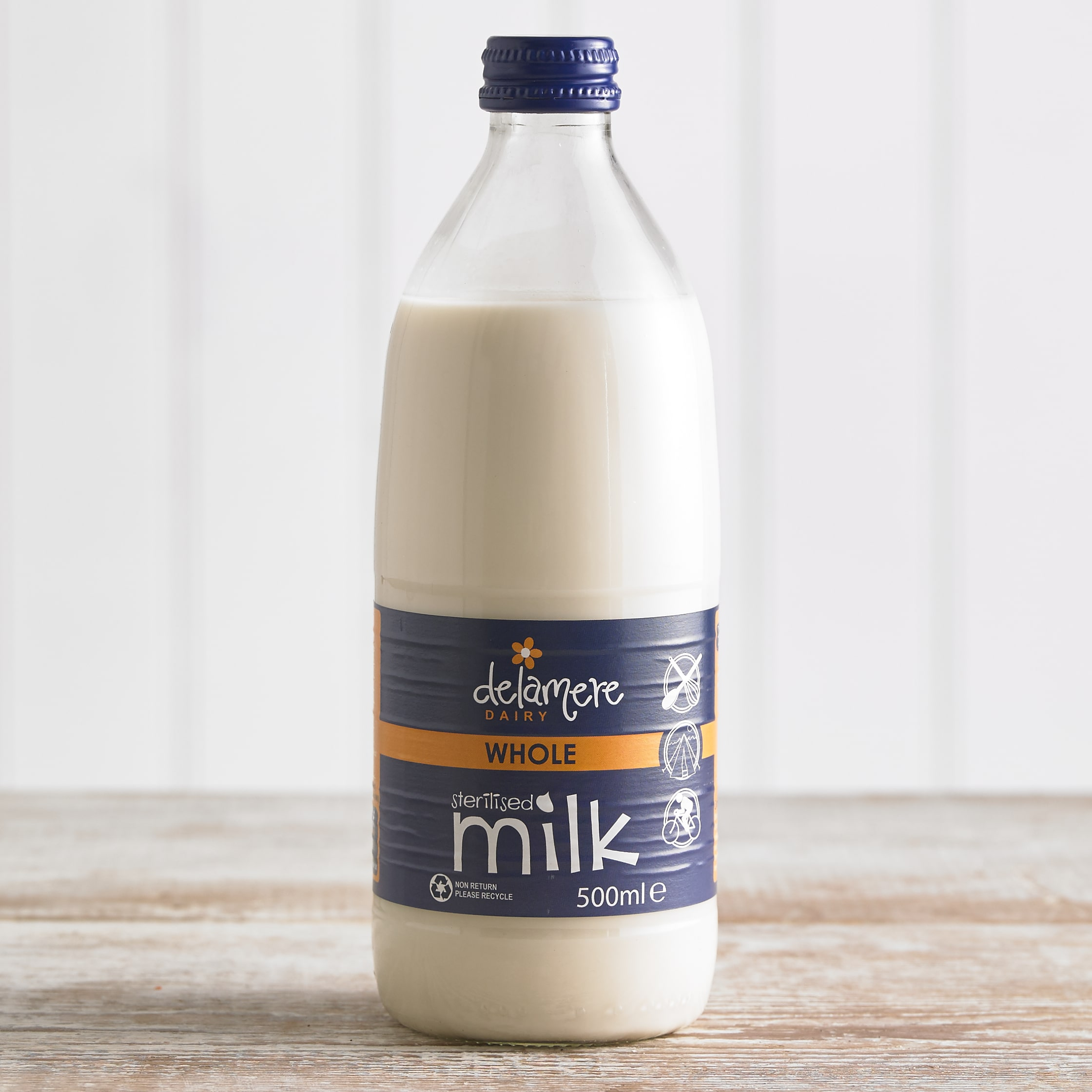 Delamere Sterilised Whole Milk in Glass, 500ml