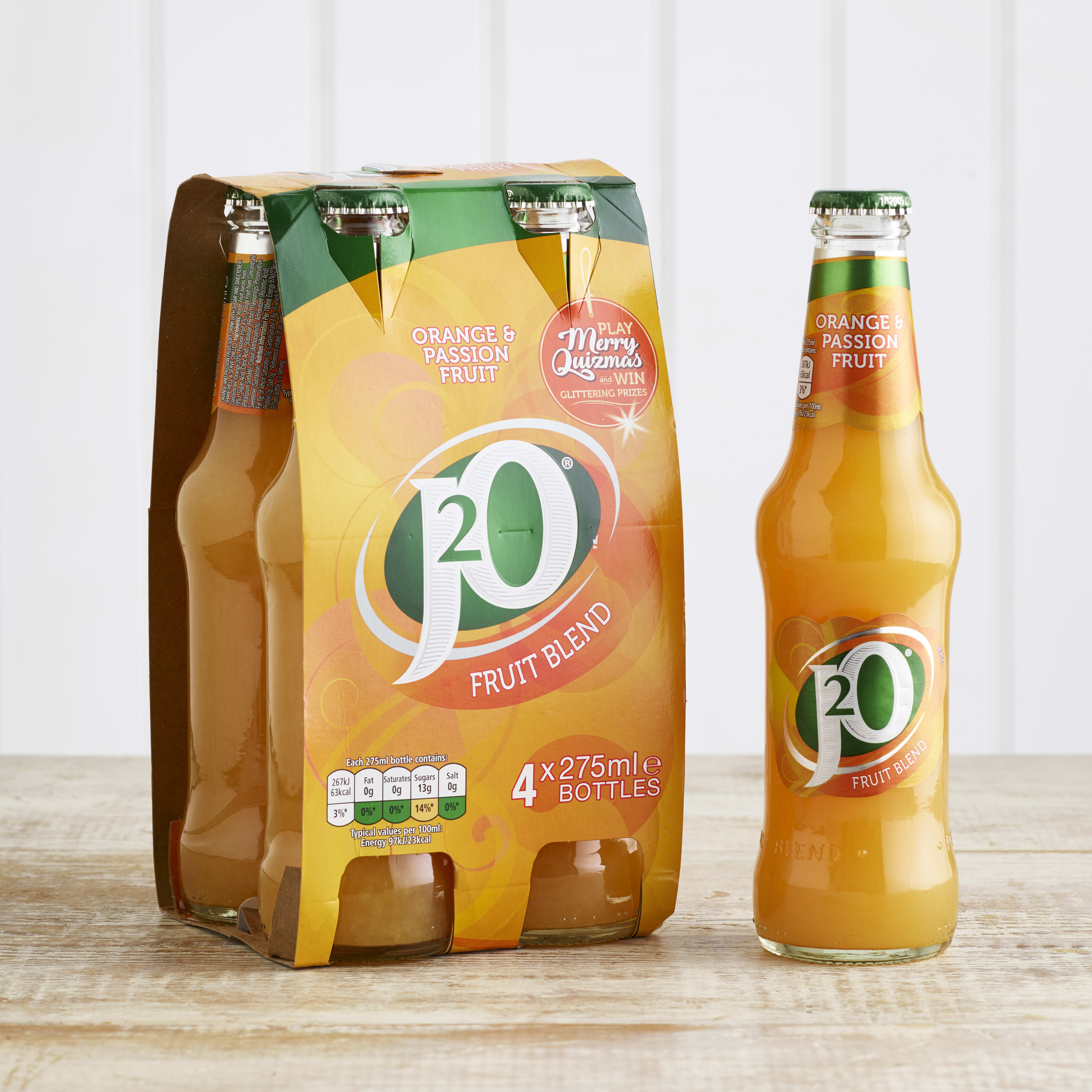 J2O Orange & Passionfruit Juice Drink, 4 x 275ml