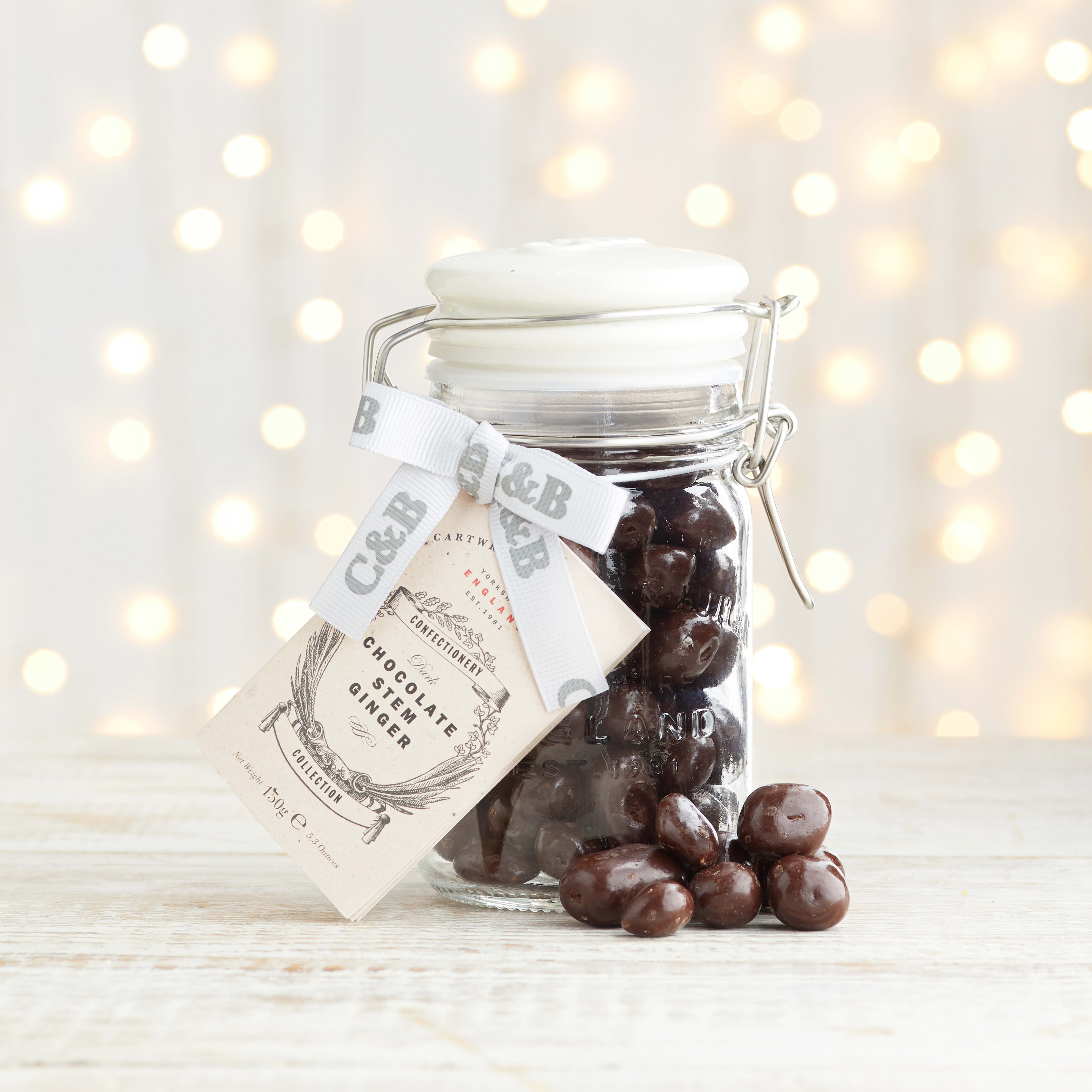 Cartwright & Butler Stem Ginger in Dark Chocolate in Signature Jar, 150g