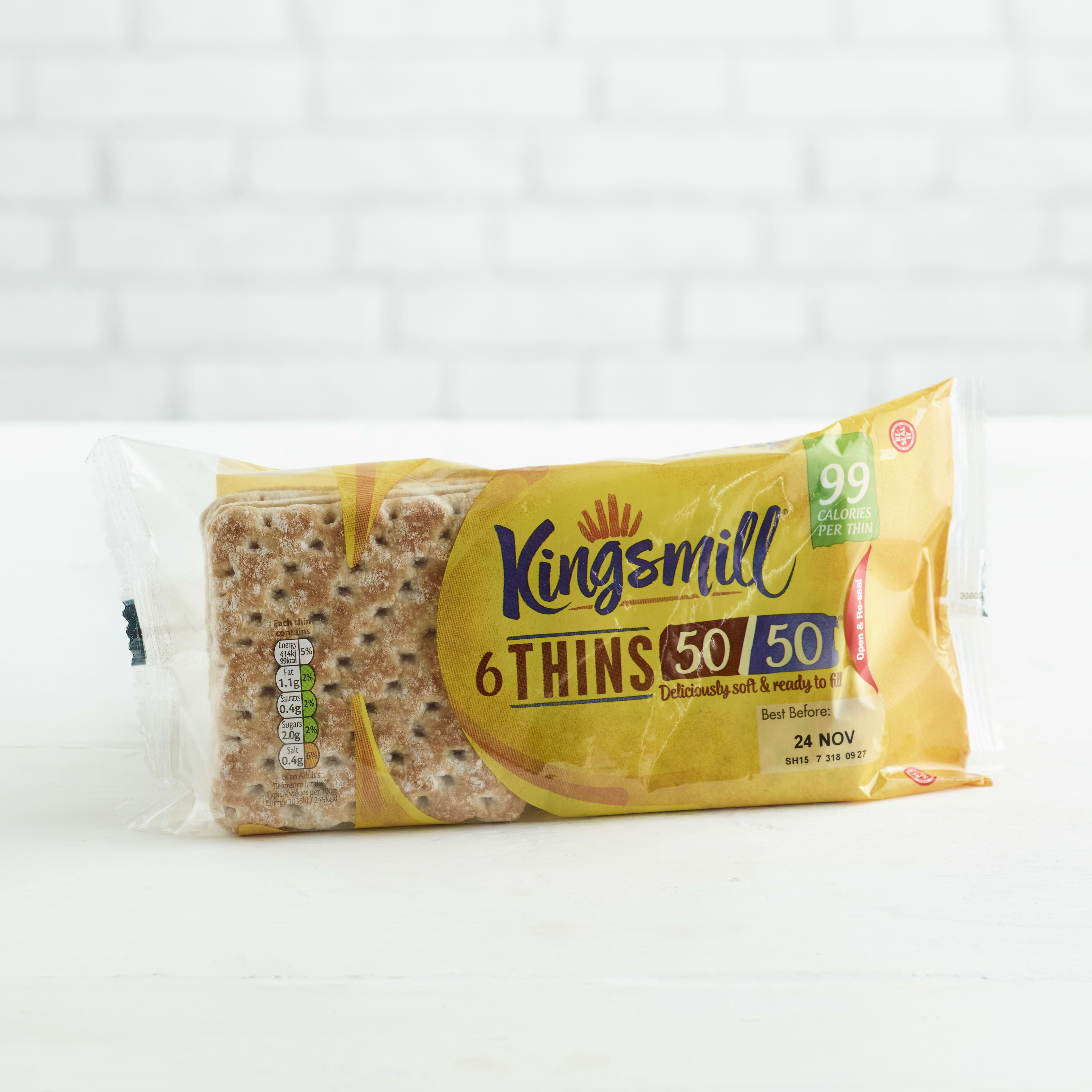 Kingsmill 50/50 Sandwich Thins, 6 pack