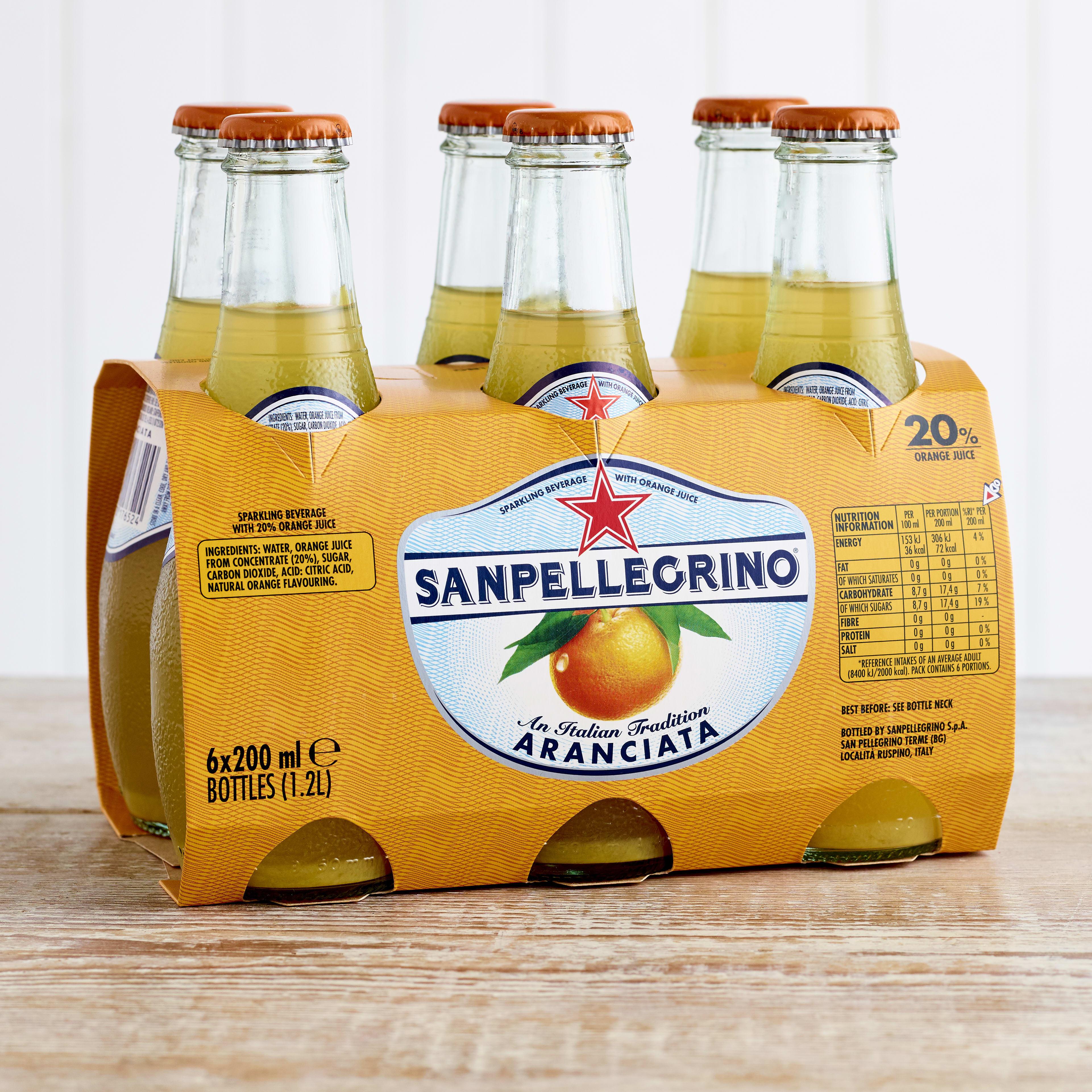 San Pellegrino Aranciata Glass Bottles, 6 x 200ml