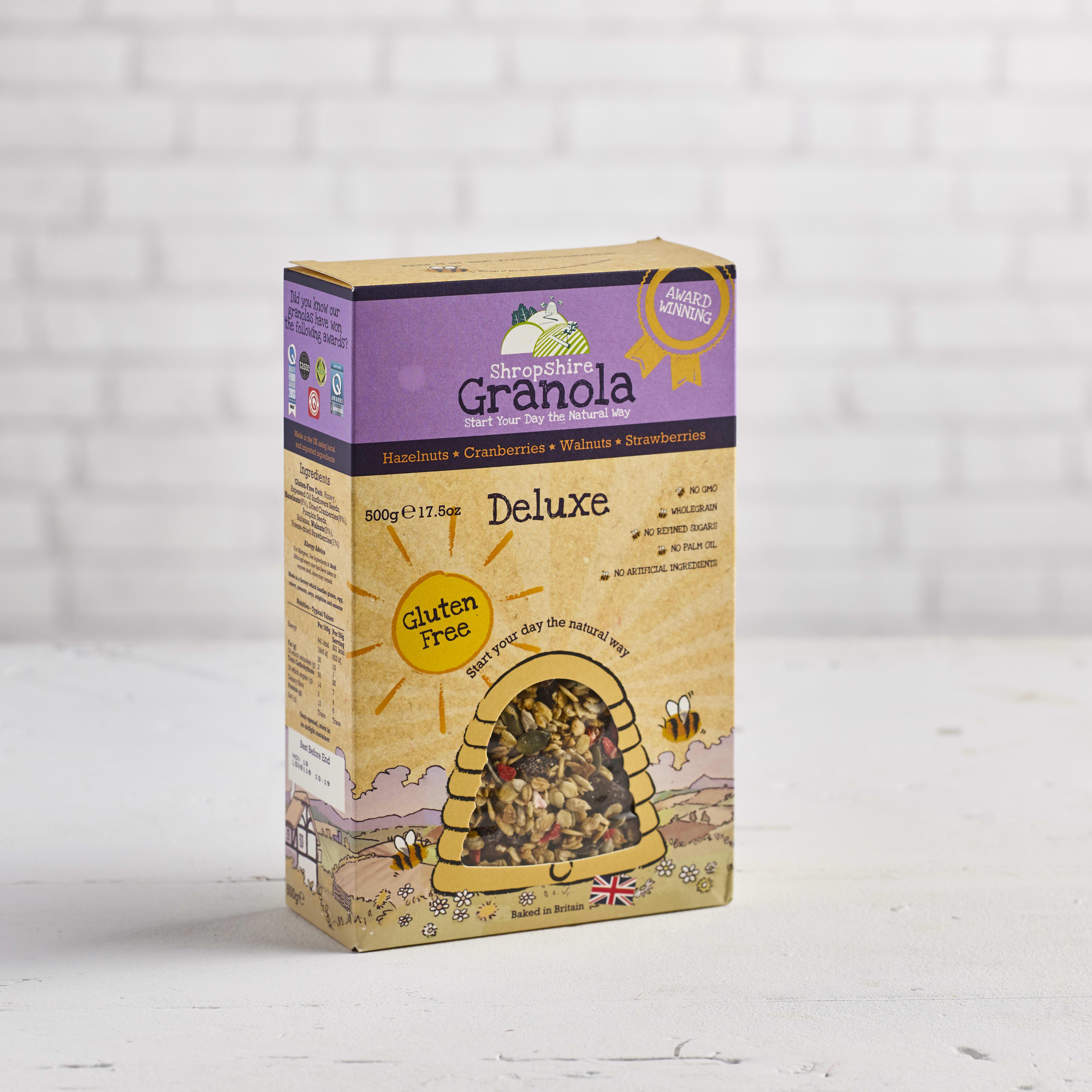 Shropshire Granola Deluxe Gluten Free Cranberries, Sultanas, Hazelnuts & Walnuts, 500g