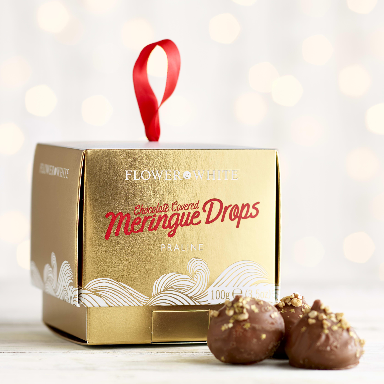 Flower & White Chocolate Praline Covered Meringue Drops, 100g