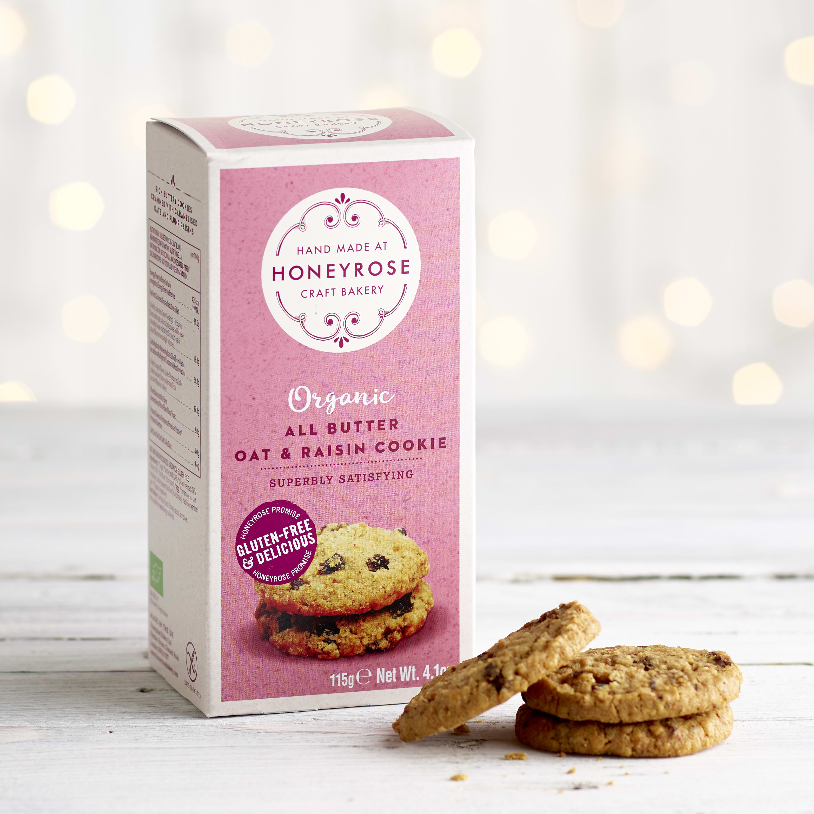 Honeyrose Organic Oat & Raisin Cookies, 115g