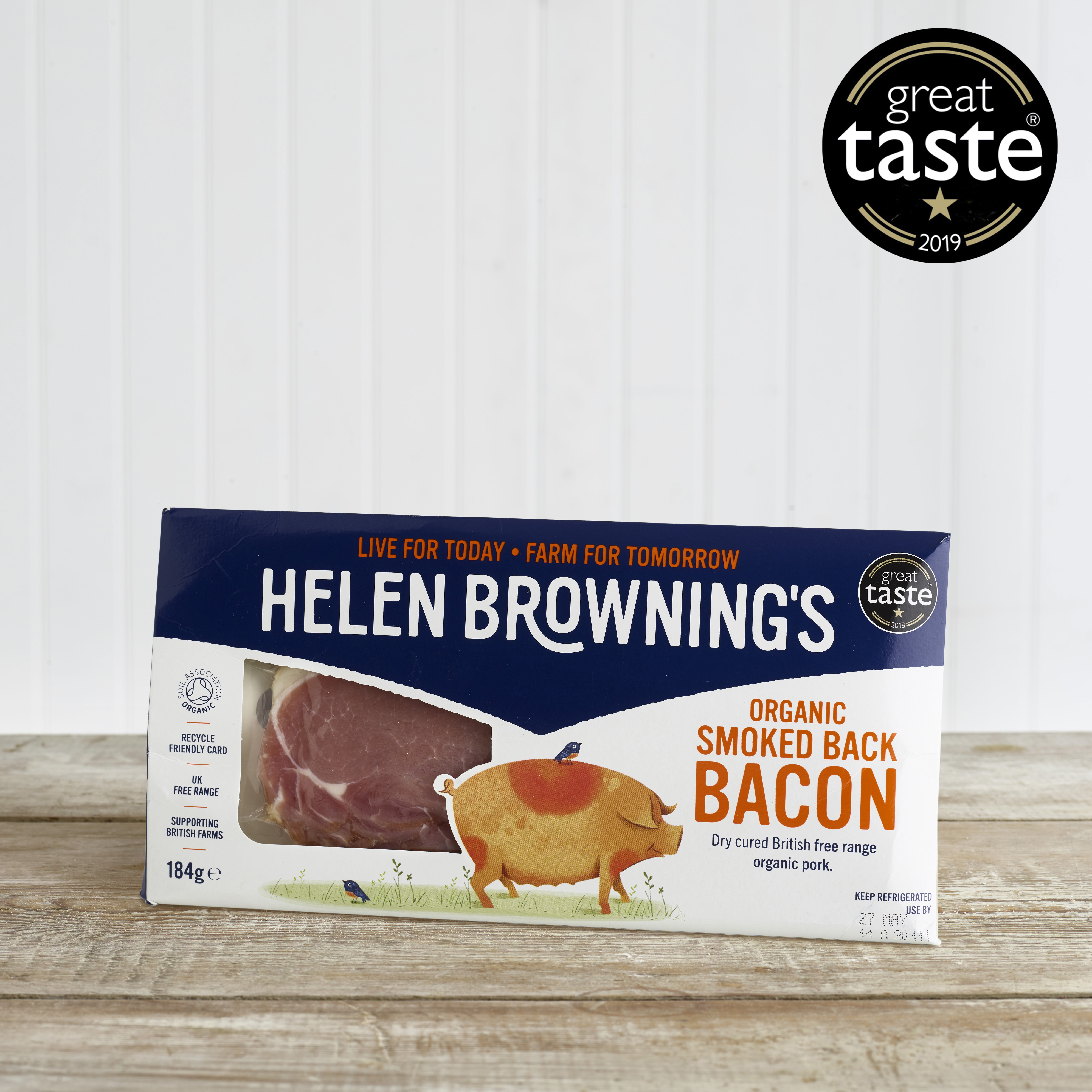 Helen Browning's Organic Smoked Back Bacon, 184g