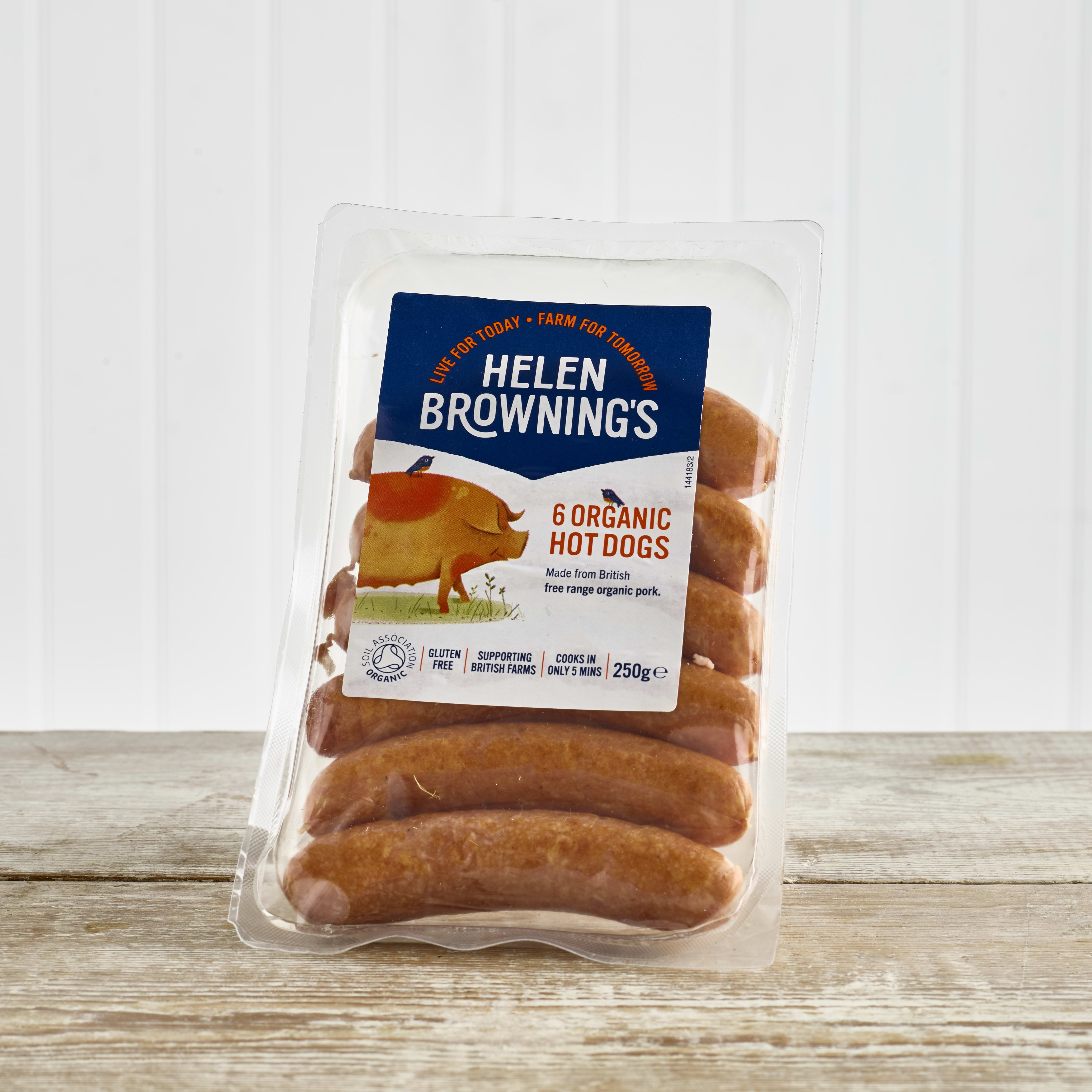 Helen Browning's Organic Hot Dogs, 6 Pack, 250g