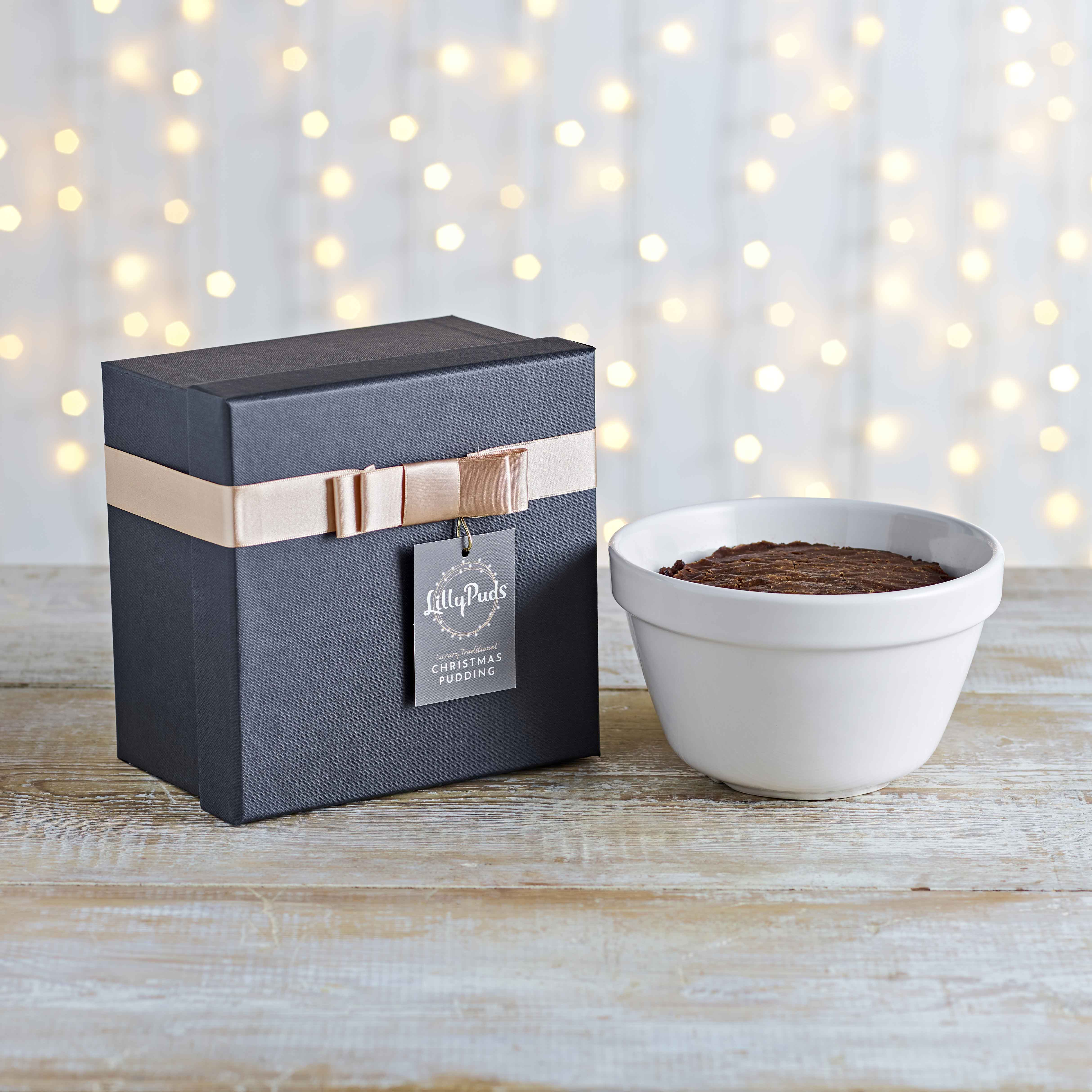 LillyPuds Luxury Christmas Pudding Laced with Brandy in Ceramic Pot, 908g
