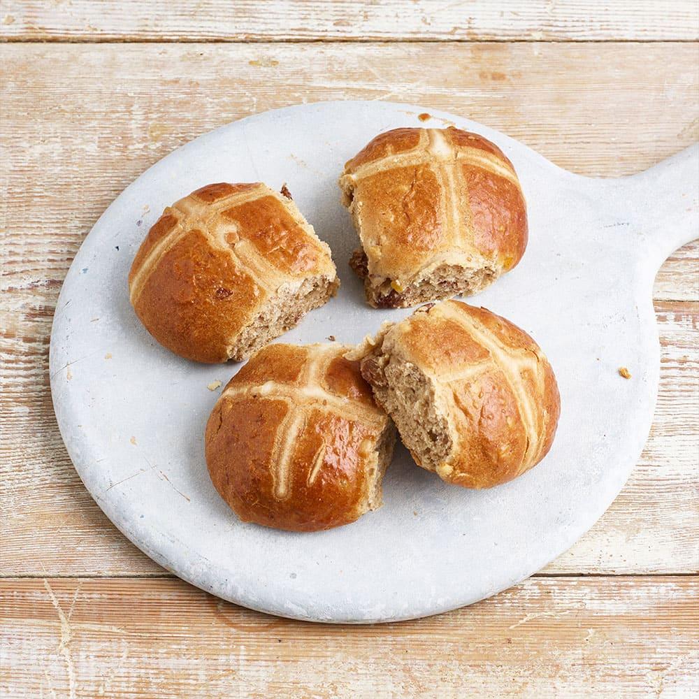 The Artisan Bakery Hot Cross Buns, 4 X 60g