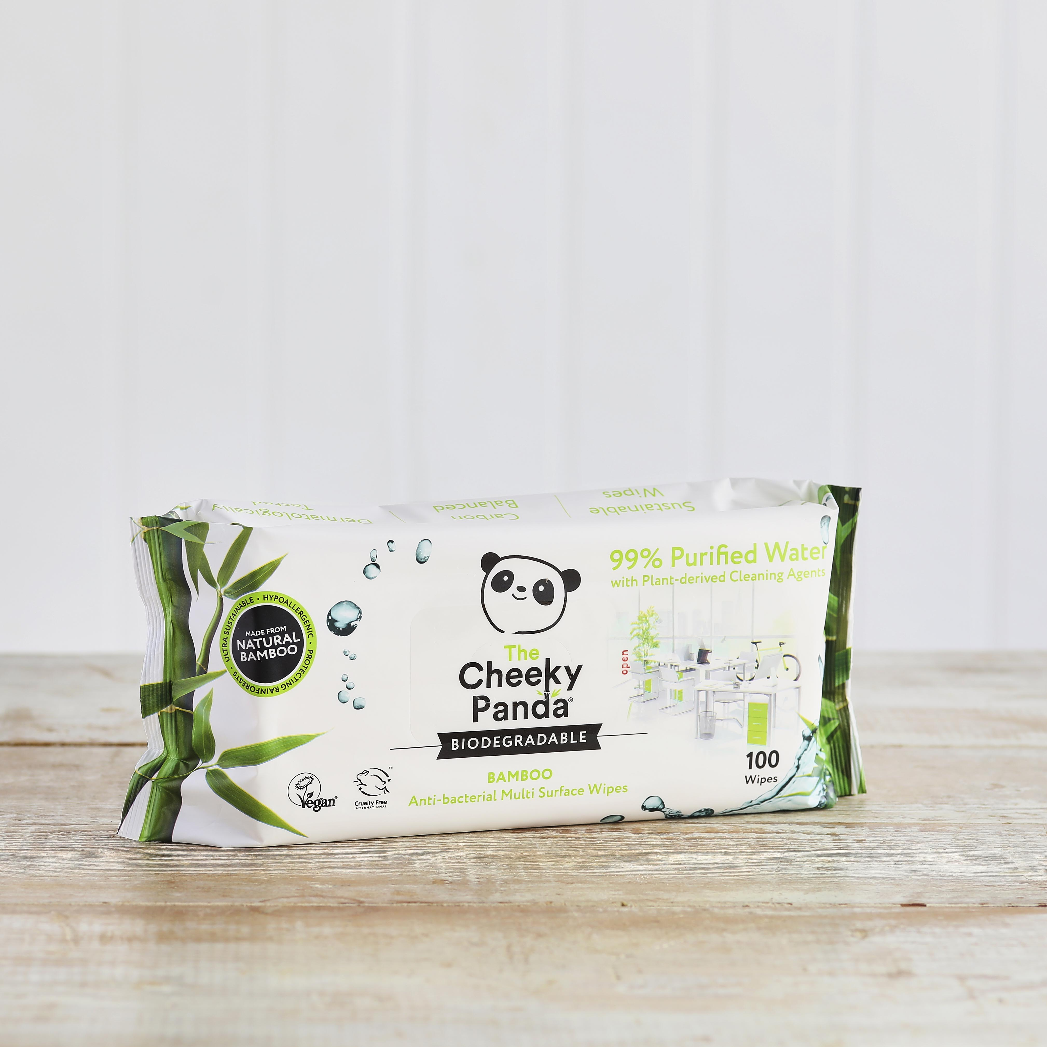 The Cheeky Panda Bamboo Antibacterial Multi Surface Wipes, 100 Wipes