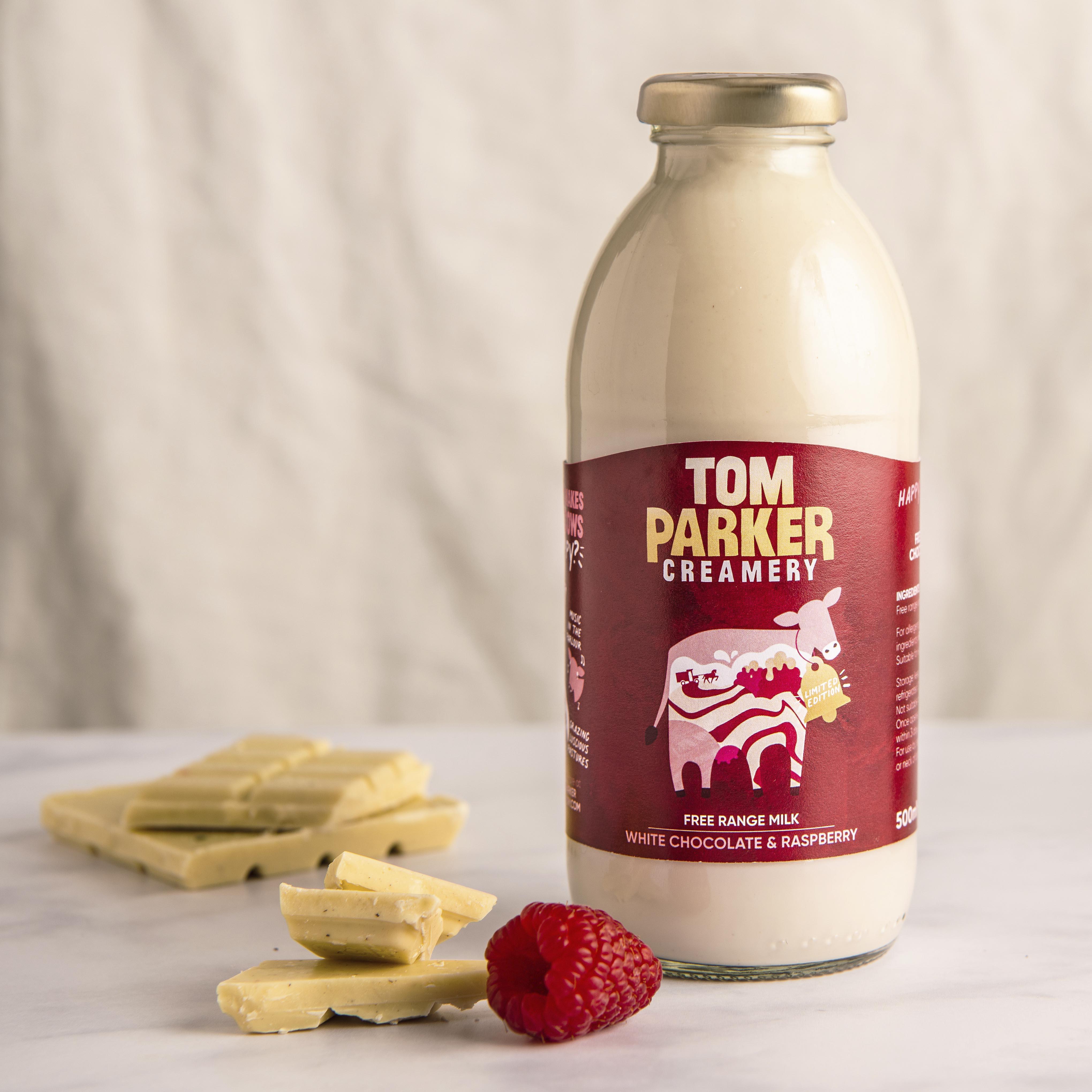 Tom Parker White Chocolate & Raspberry Milk in Glass, 500ml