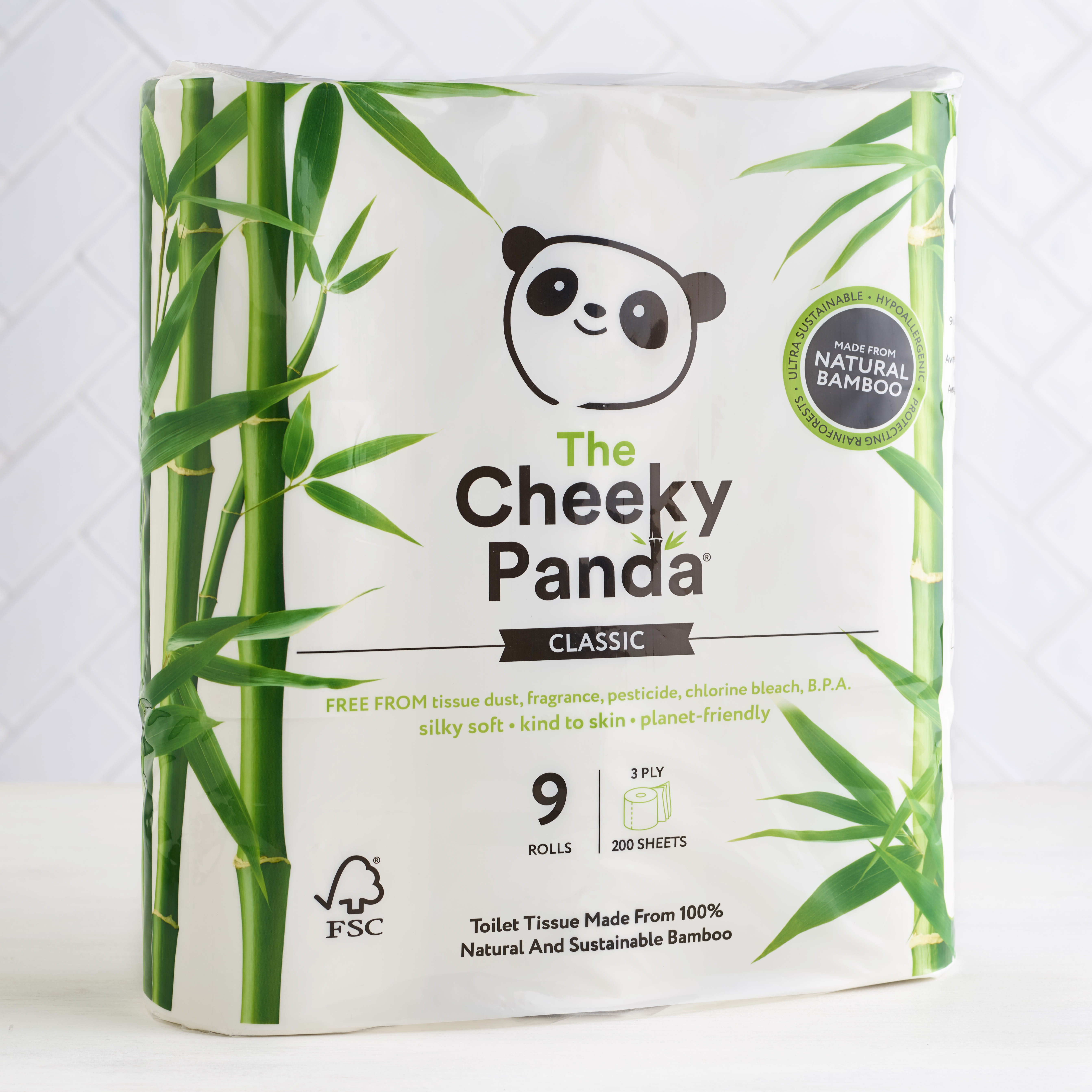 The Cheeky Panda Plastic free Toilet Rolls, 9 Pack