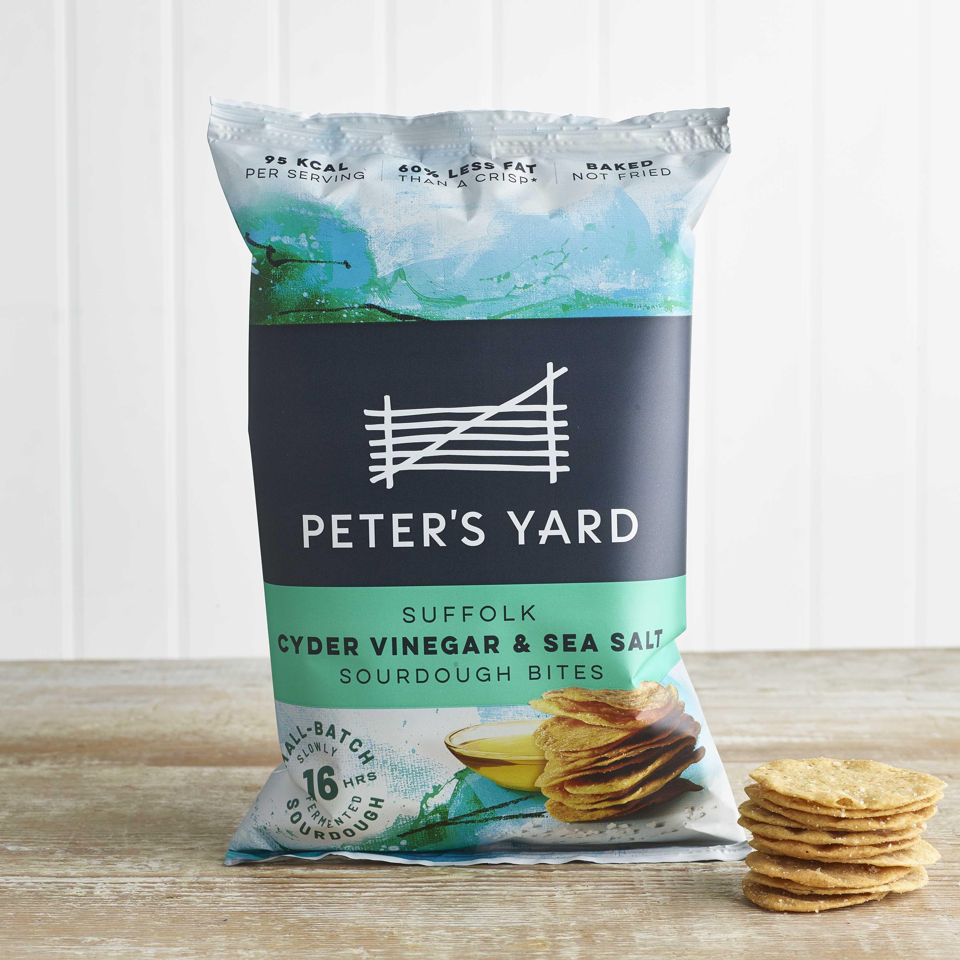 Peter's Yard Suffolk Cyder Vinegar & Sea Salt Sourdough Bites, 90g