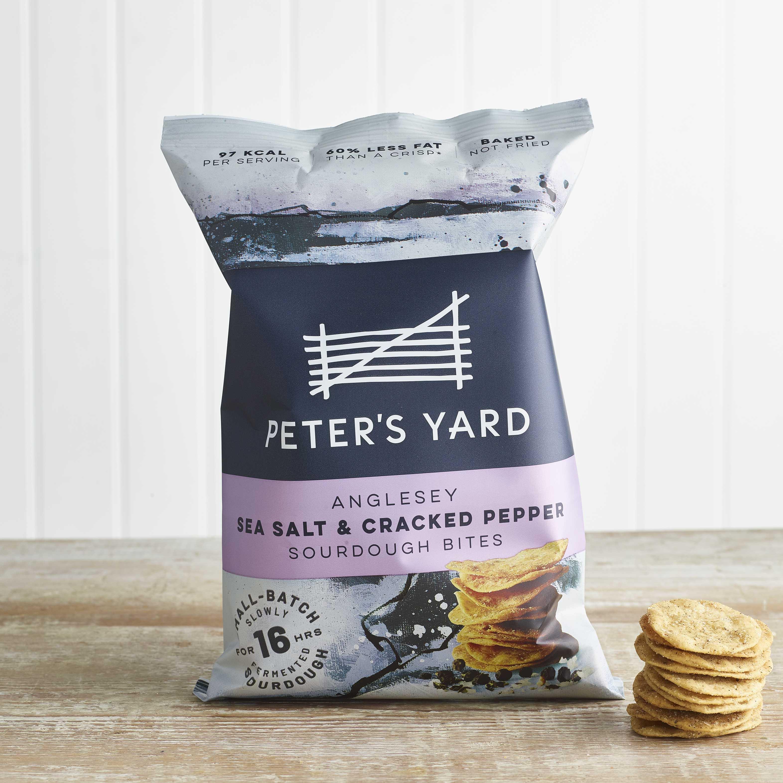Peter's Yard Anglesey Sea Salt & Cracked Black Pepper Sourdough Bites, 90g
