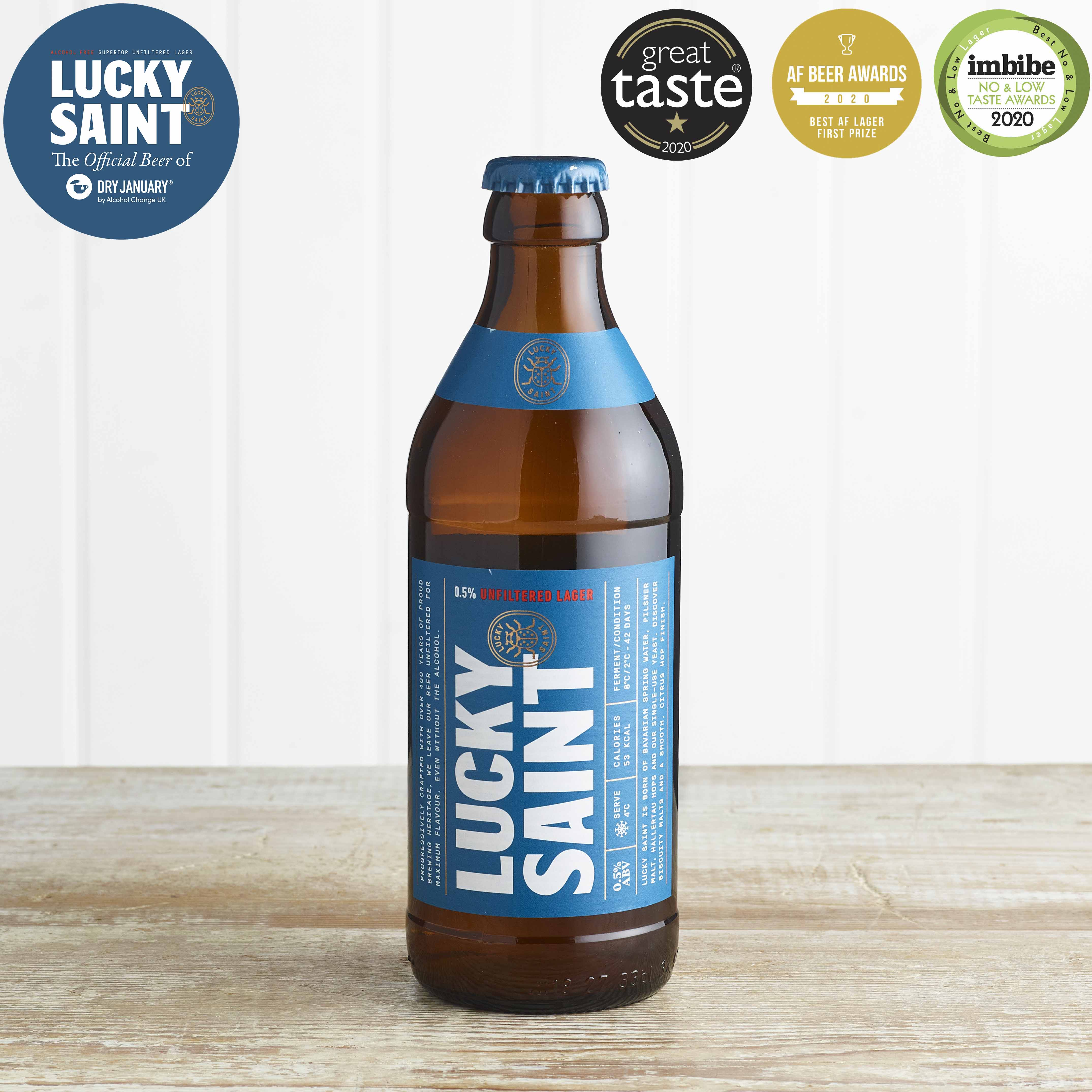 Lucky Saint Unfiltered Low Alcohol 0.5% Lager in Glass, 330ml