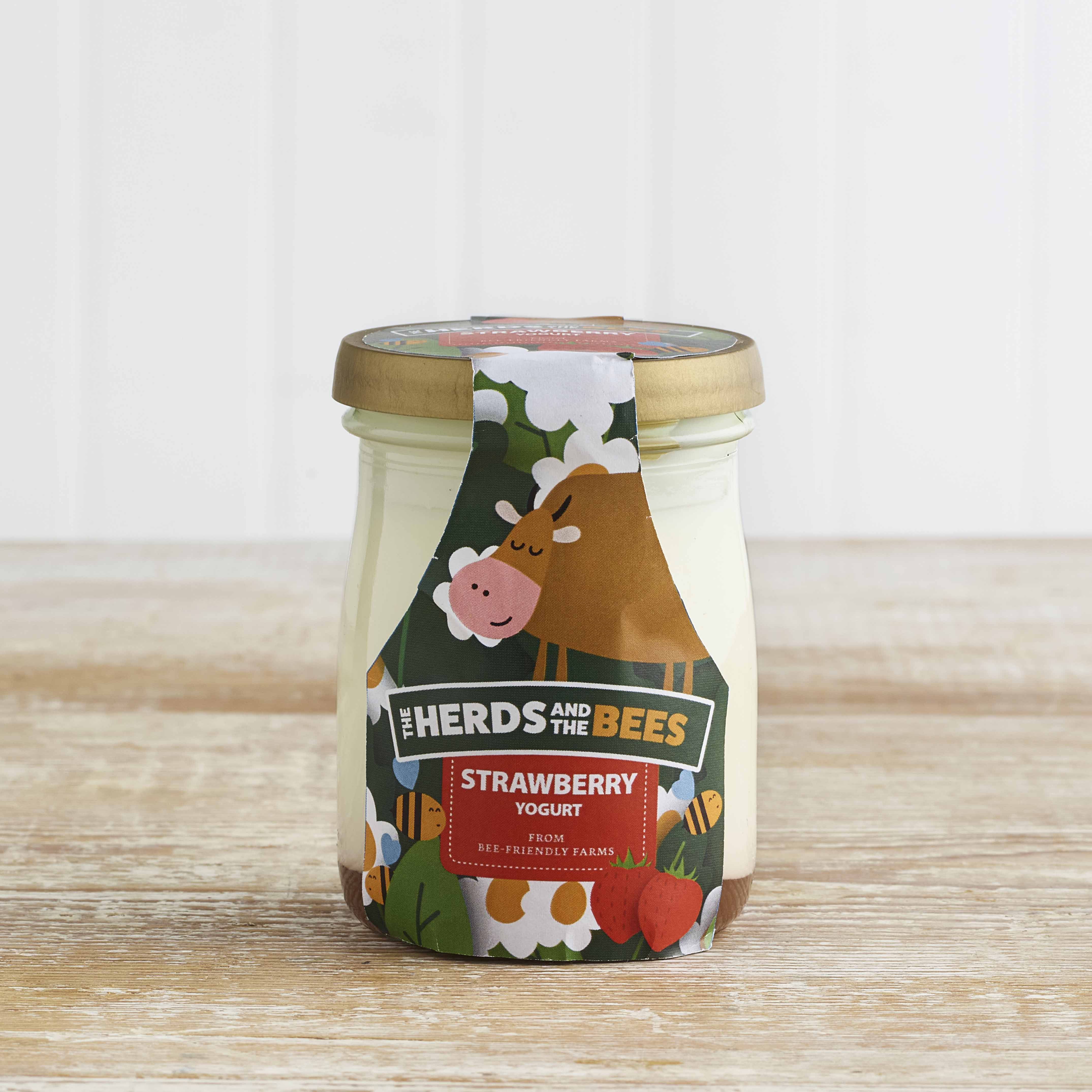 The Herds and the Bees Strawberry Layered Yoghurt in Glass, 125g