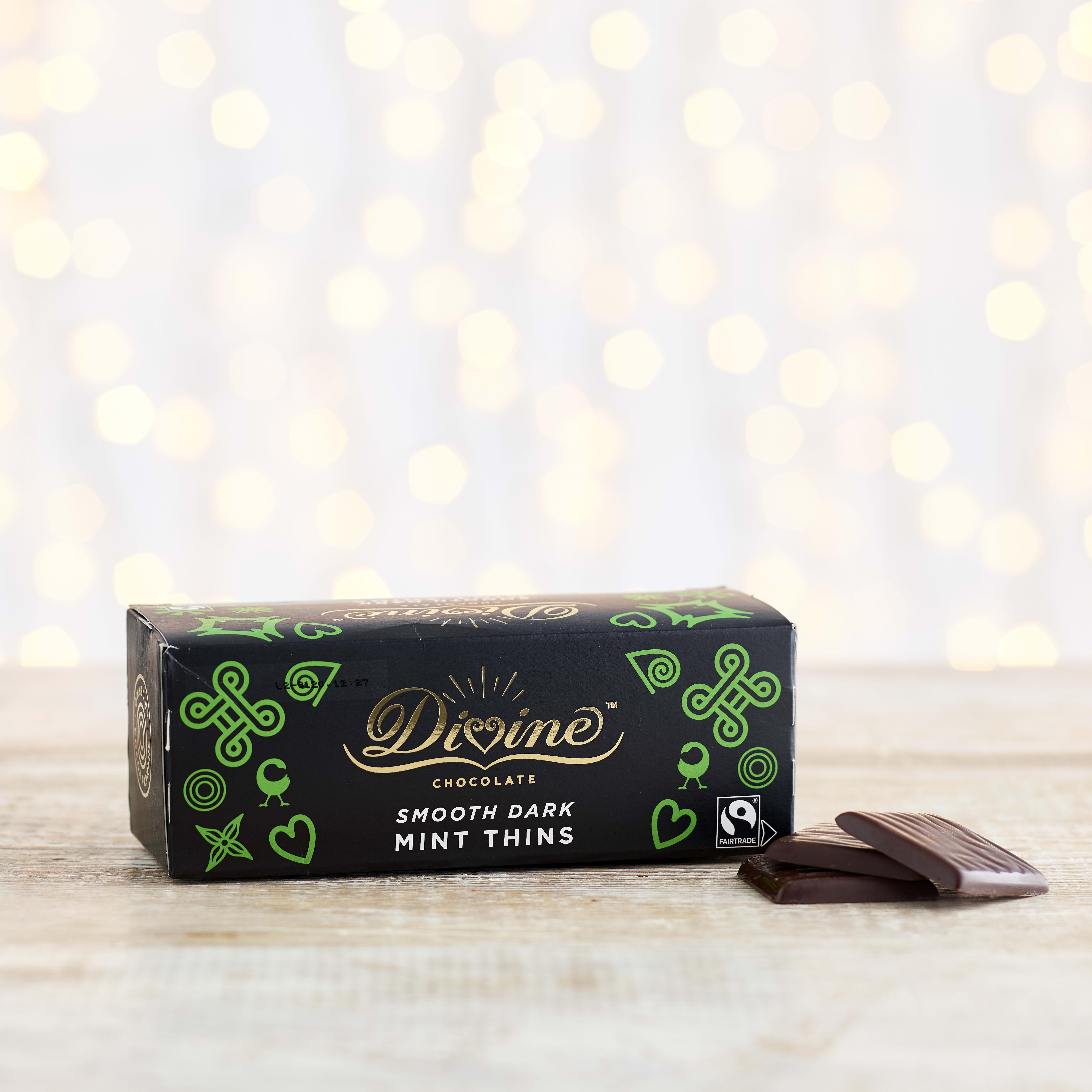 Divine Dark Chocolate Mint Thins, 200g