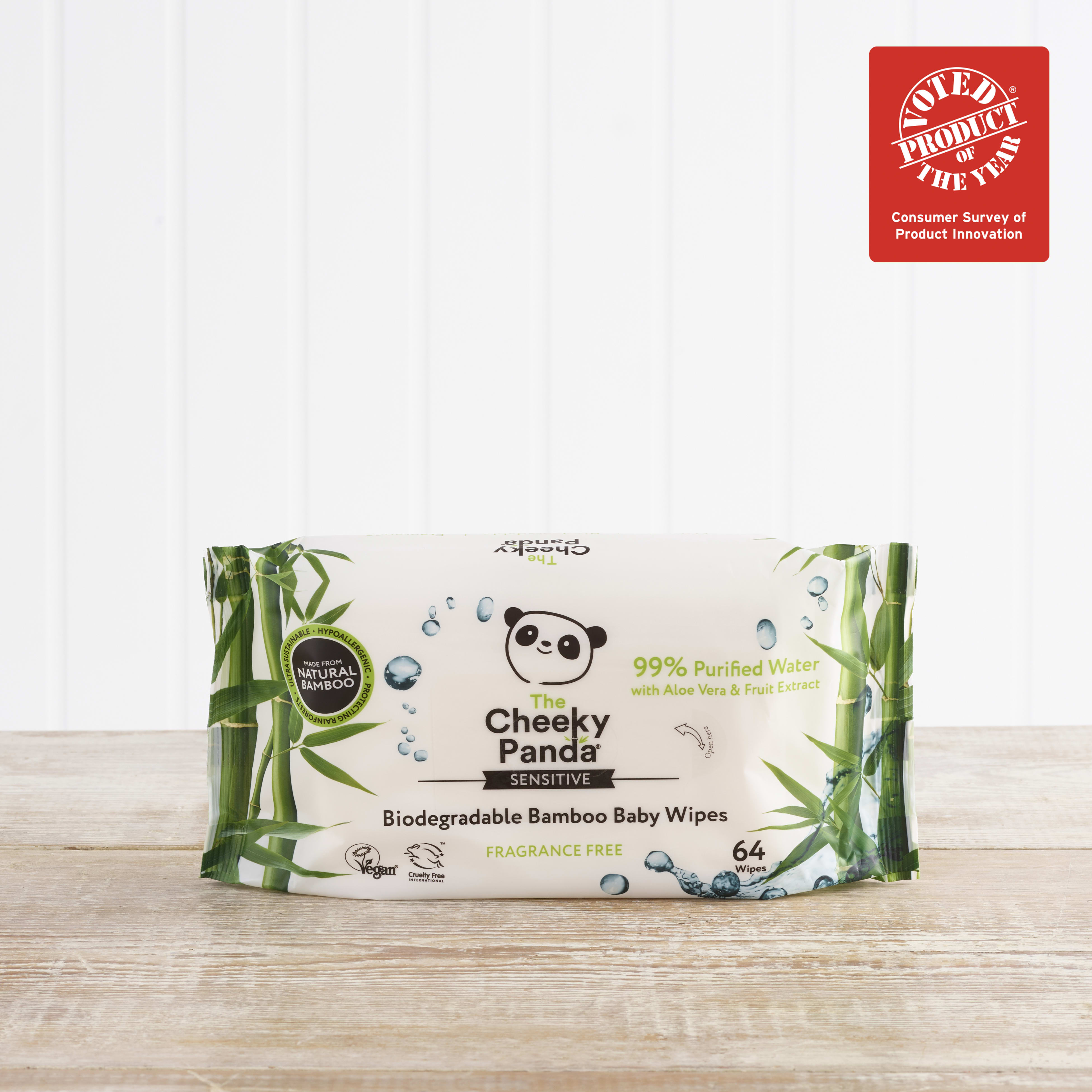 The Cheeky Panda Biodegradable Bamboo Baby Wipes, 64 wipes