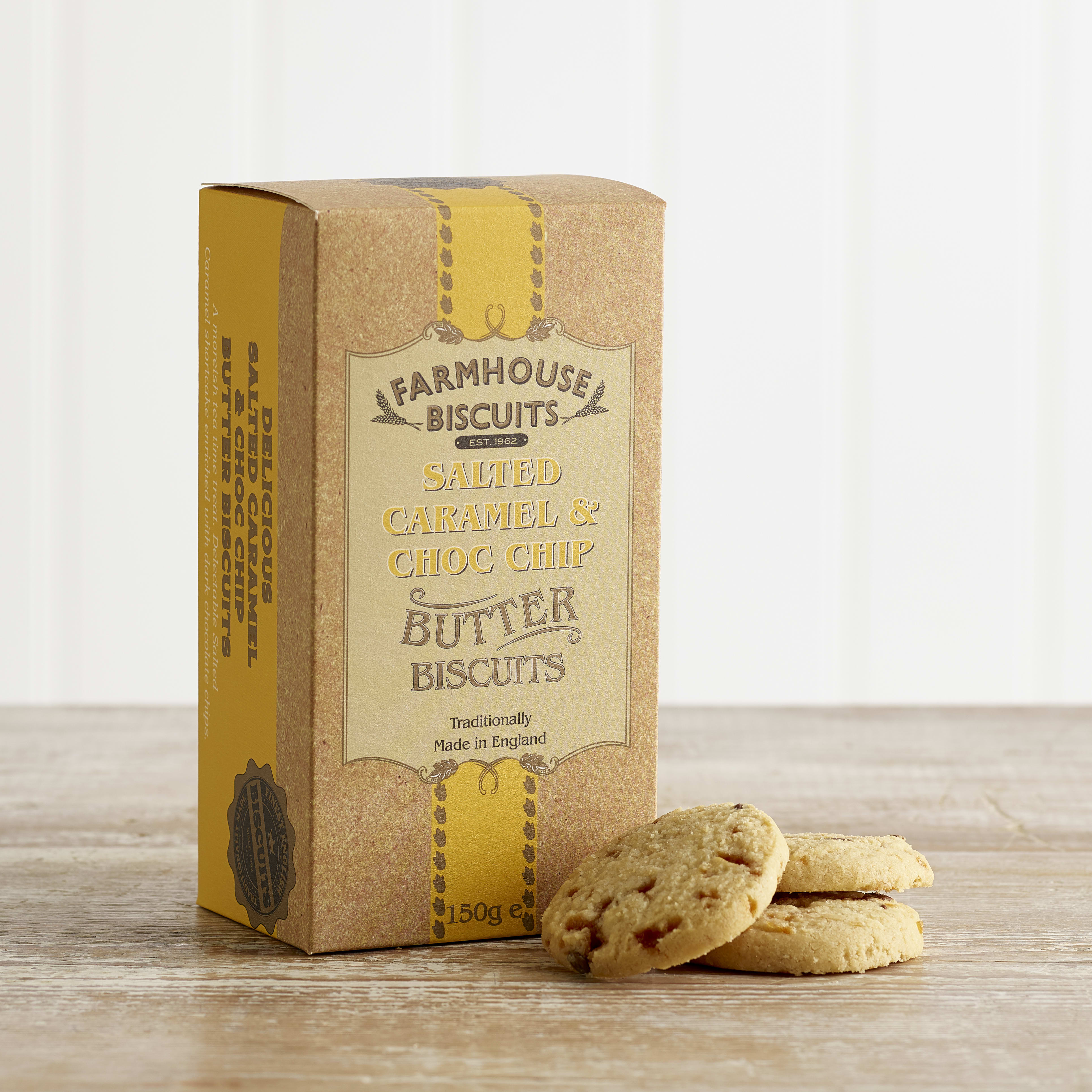 Farmhouse Salted Caramel & Chocolate Chip Biscuits, 150g