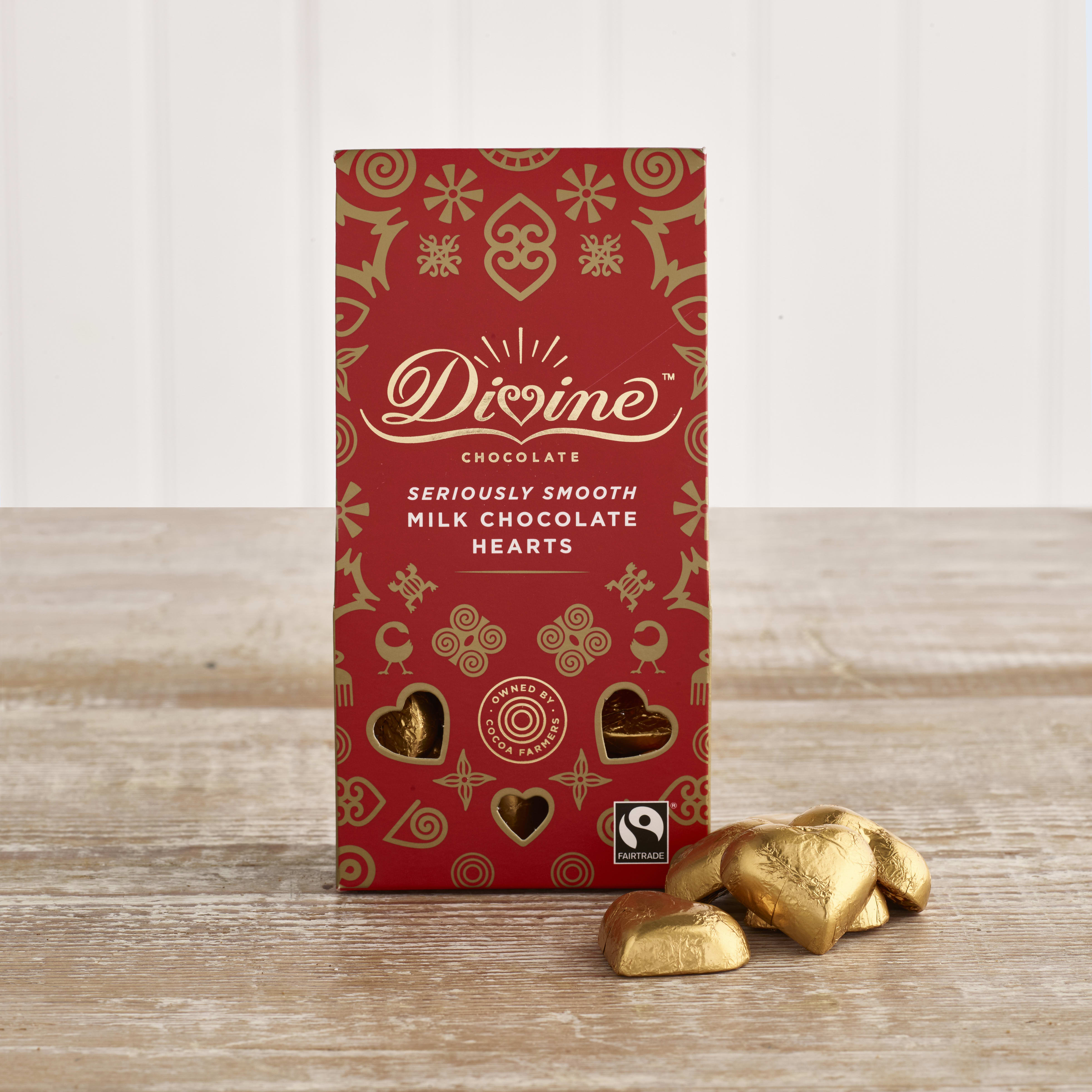 Divine Milk Chocolate Hearts, 80g