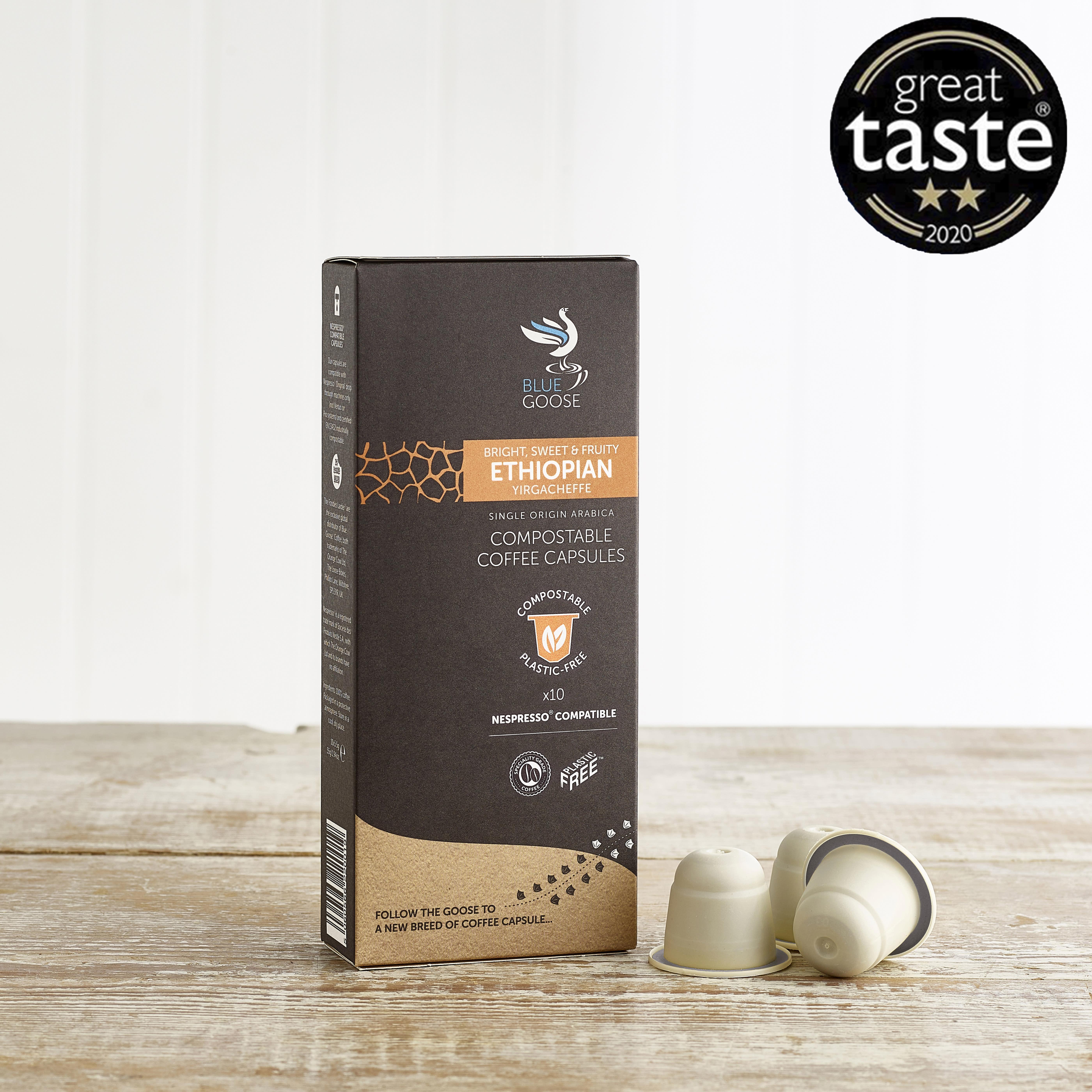 Blue Goose Ethiopian Yirgacheffe Eco Coffee Capsules, 10 Pack