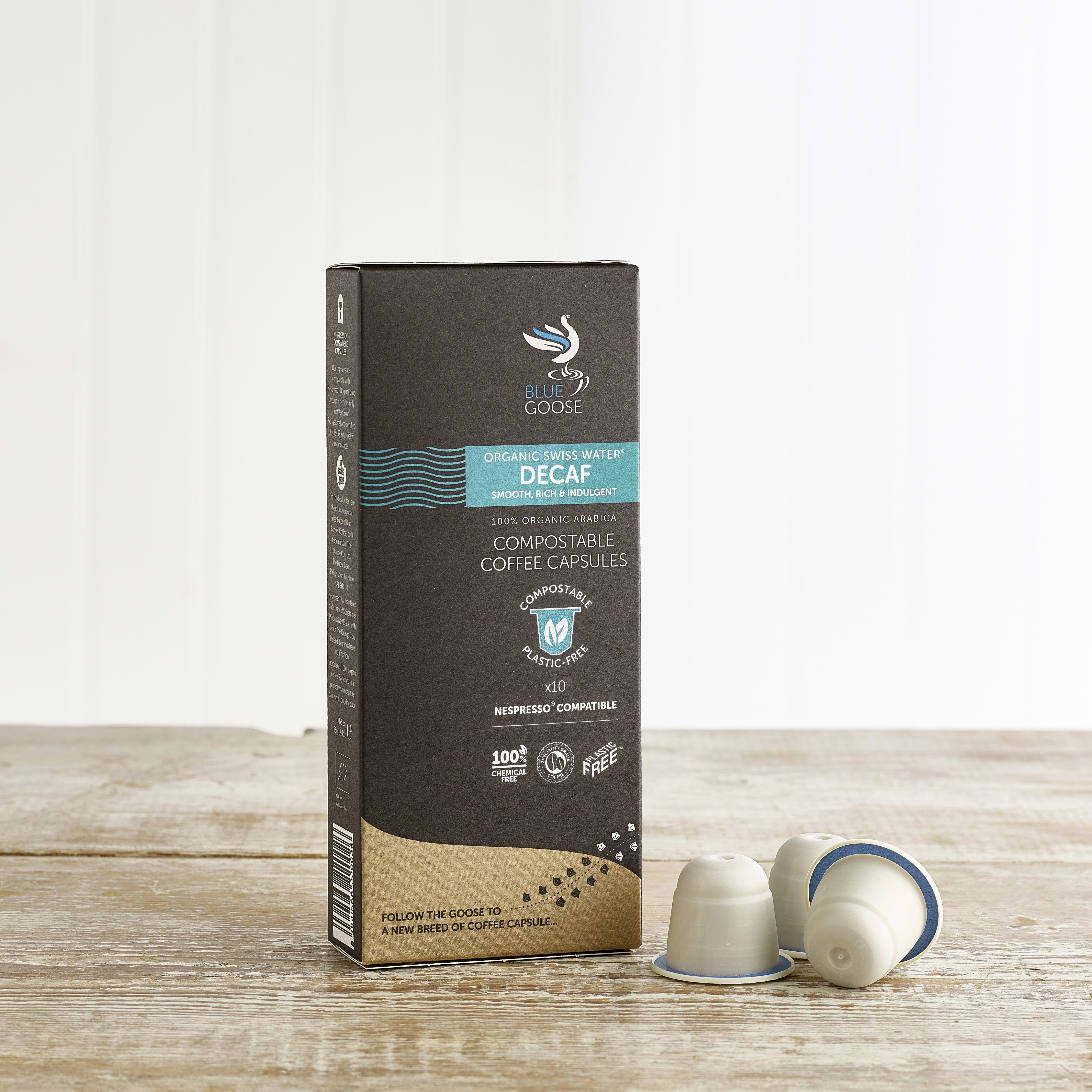 Blue Goose Organic Swiss Water® Decaf Eco Coffee Capsules, 10 Pack