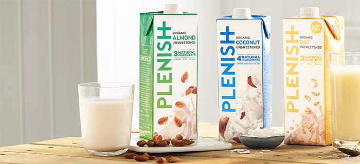 Try Plenish's tasty Oat, Almond, Coconut and Soya M*lks delivered to your door by Milk & More