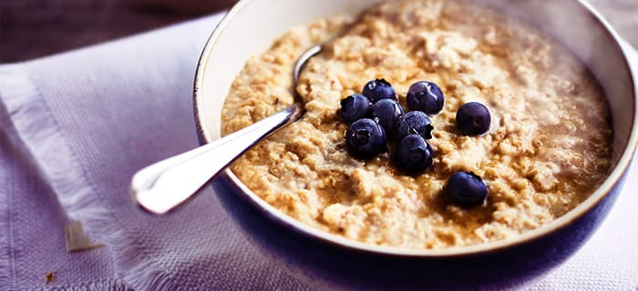 Start your day with a warm bowl of organic porridge.
