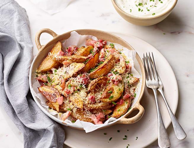 cheesy bacon potato wedges