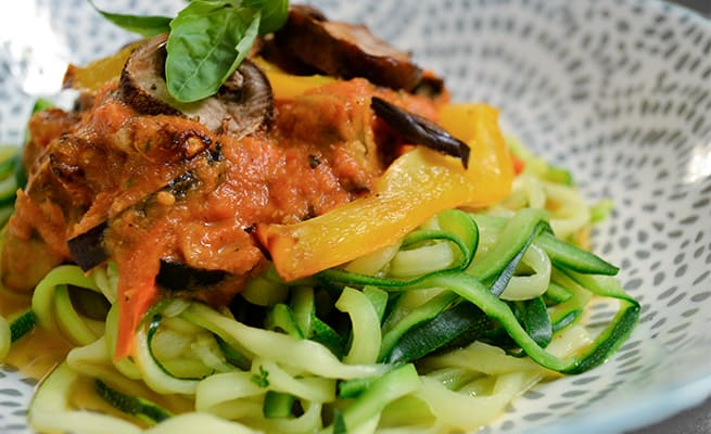 Courgette Spaghetti with Roasted Vegetable Tomato Sauce