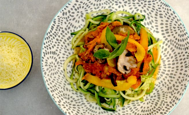 Courgetti Spaghetti with Roasted Vegetable Tomato Sauce Recipe