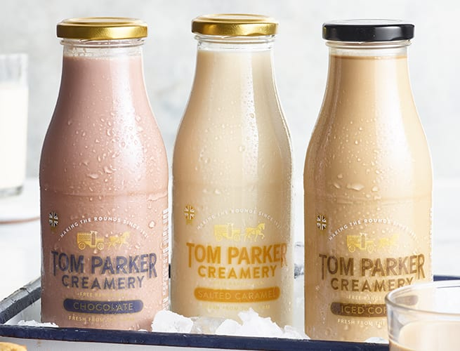 Tom Parker iced coffee and chocolate and salted caramel milks