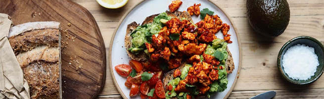 Smashed Avocado on Toast with Crispy Harissa Tofu
