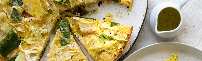 Frittata with beans and pointed cabbage