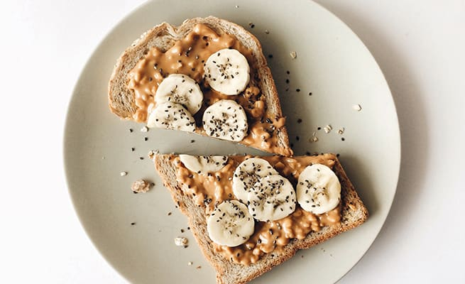 peanut butter and banana on toast