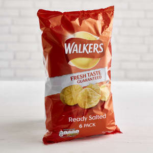 Walkers Ready Salted Crisps, 6 x 25g