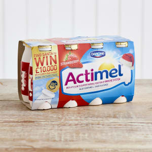 Actimel Strawberry Yoghurt Drinks, 8 x 100g