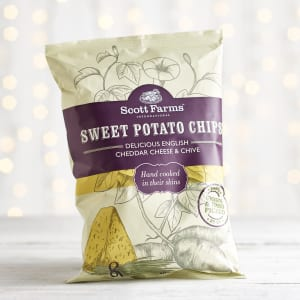 Scott Farms Sweet Potato Cheddar Cheese & Chive chips, 100g