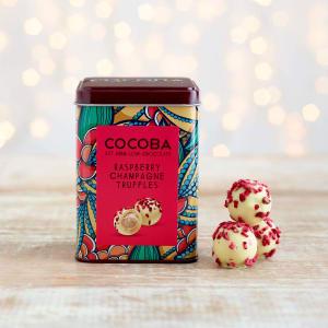 Cocoba Raspberry & Champagne Truffles Gift Tin, 120g