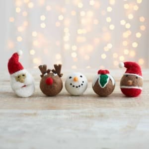 Felt So Good Christmas Baubles, Set of 5