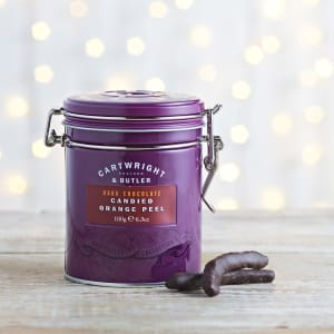 Cartwright & Butler Dark Chocolate Coated Orange Peel in Tin, 180g